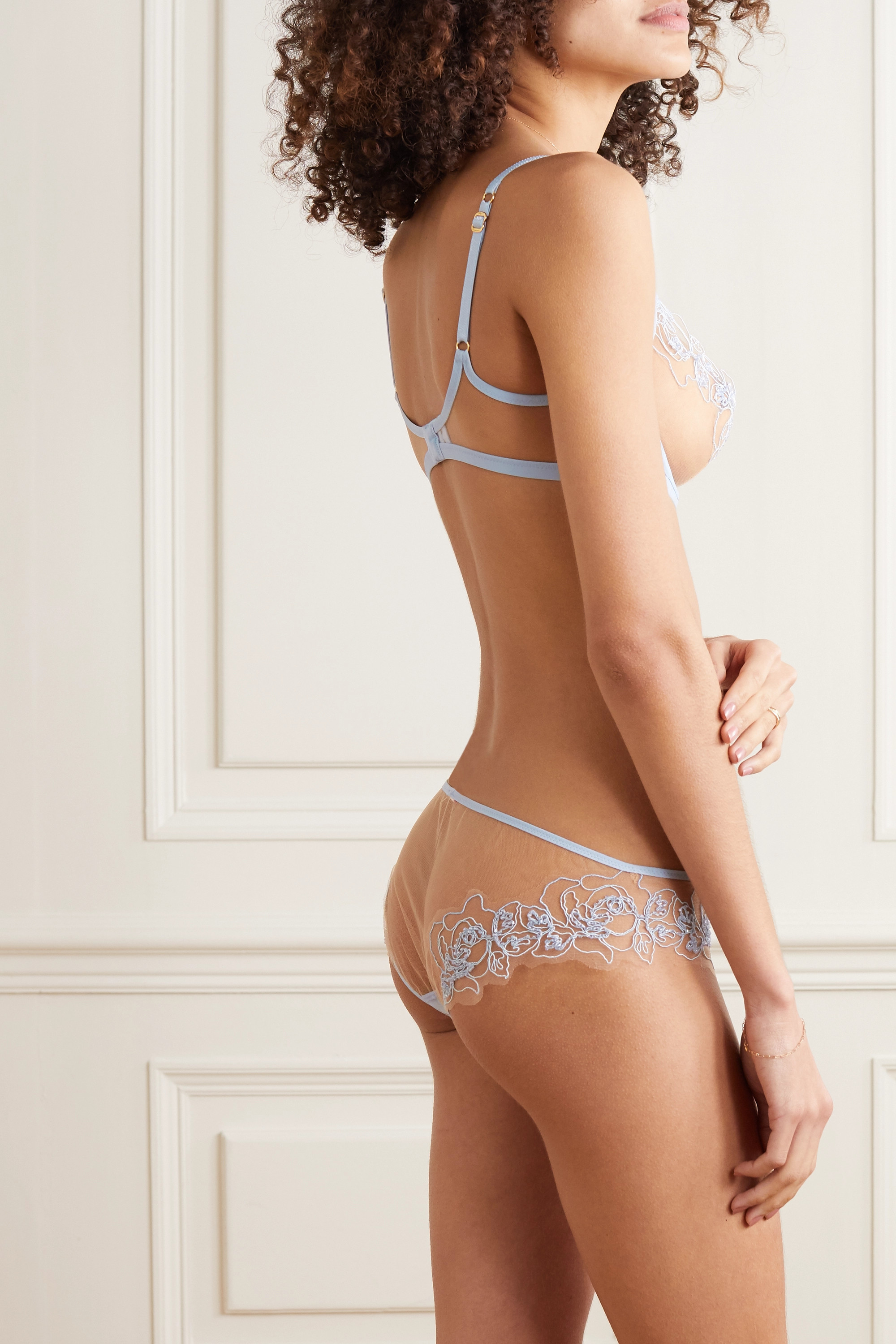 AGENT PROVOCATEUR Lindie bead-embellished embroidered tulle briefs