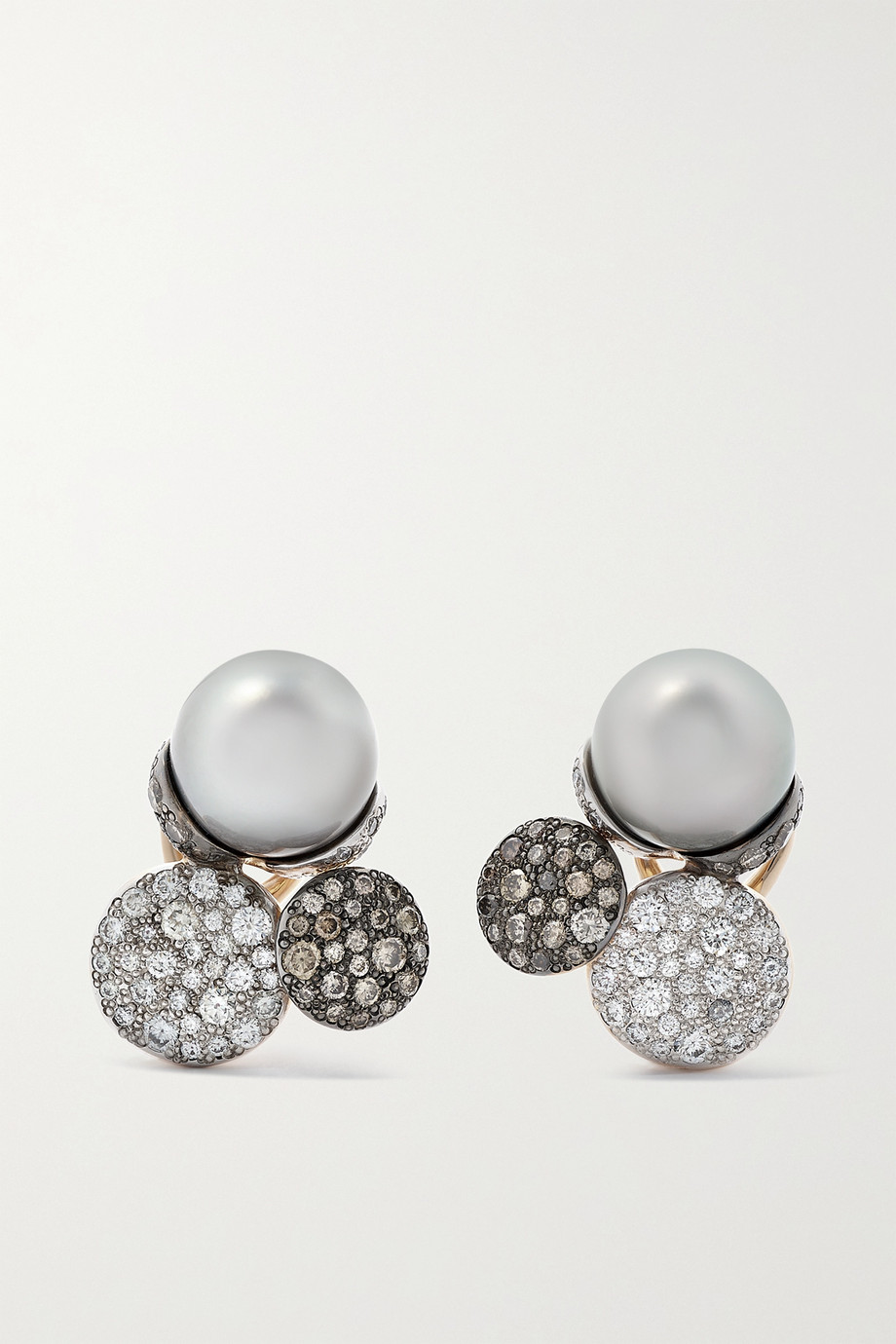 POMELLATO Sabbia 18-karat rose gold, pearl and diamond earrings