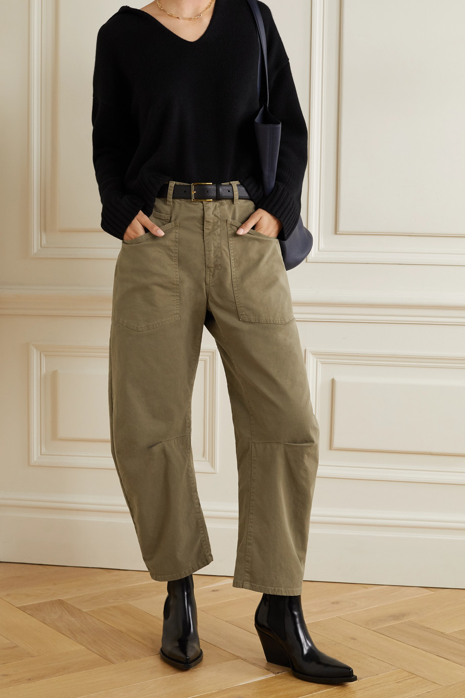 NILI LOTAN Shon cotton-blend twill tapered pants