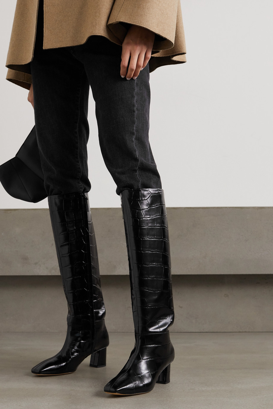 3.1 PHILLIP LIM Tess croc-effect leather knee boots