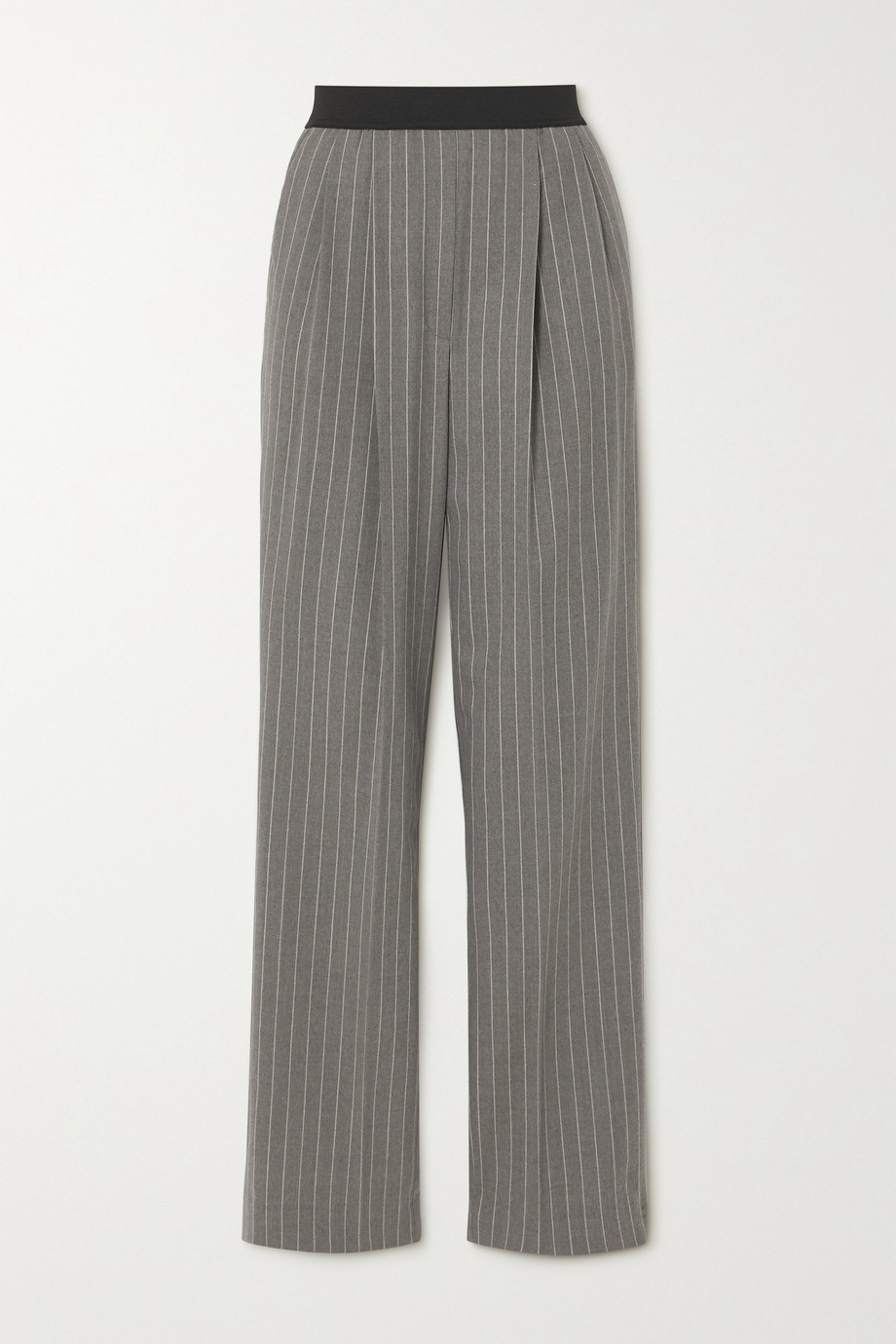 LOULOU STUDIO Moretta pleated pinstriped stretch-wool straight-leg pants