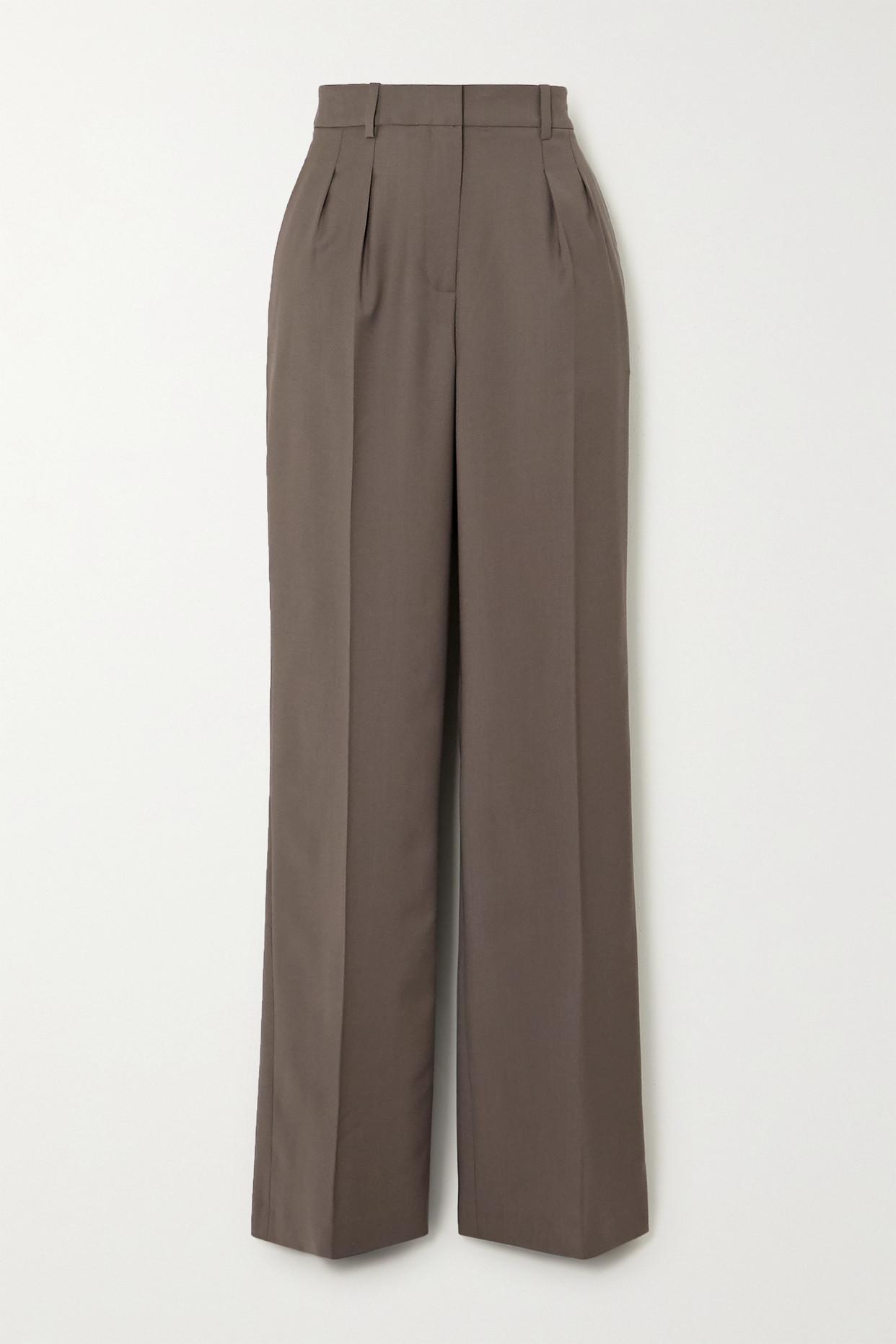 LOULOU STUDIO - Sbiru 褶裥羊毛直筒裤 - 灰色 - large
