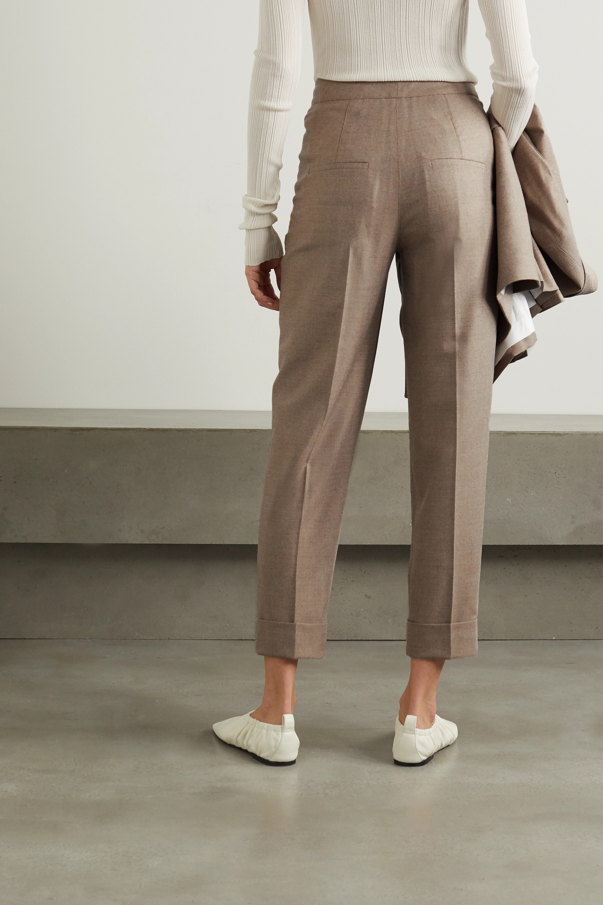 CASASOLA + NET SUSTAIN Leblon wool and silk-blend straight-leg pants
