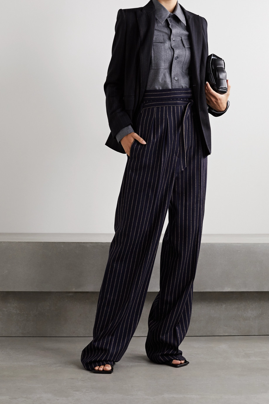 MAX MARA Cinghia double-breasted pinstriped wool-blend jersey blazer