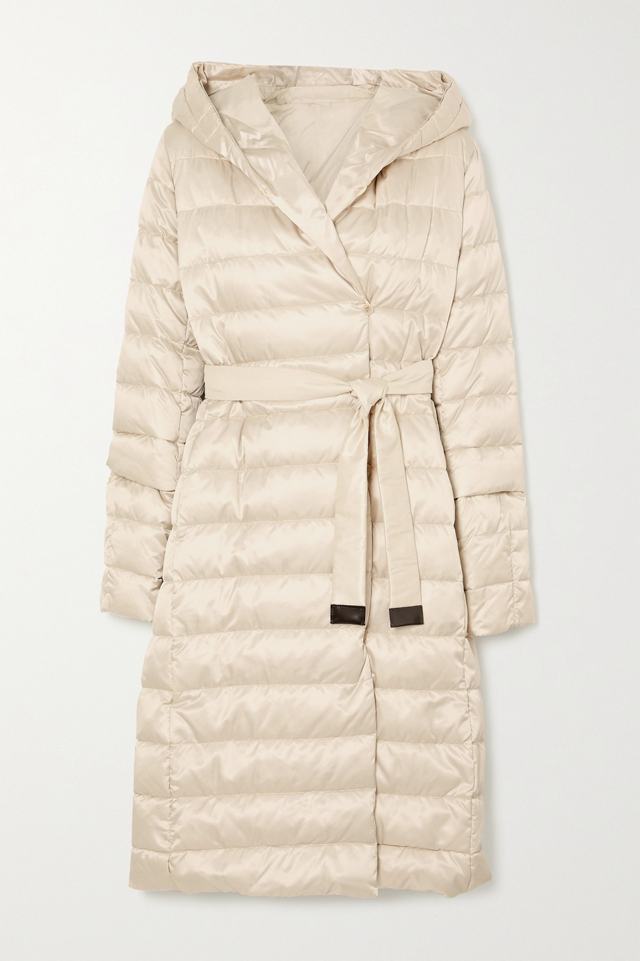 MAX MARA The Cube belted hooded quilted shell down coat