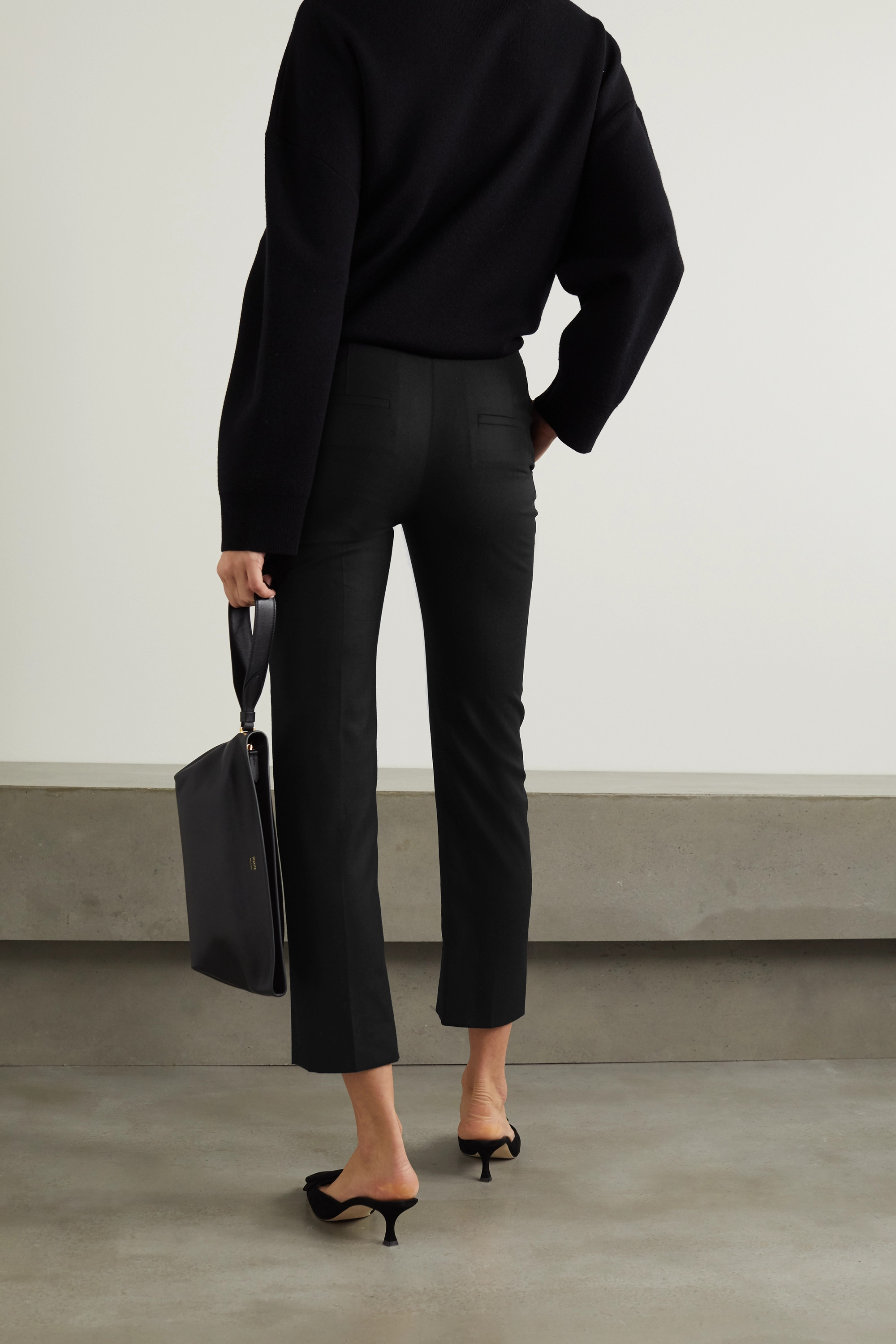CASASOLA + NET SUSTAIN Milano wool and silk-blend skinny pants
