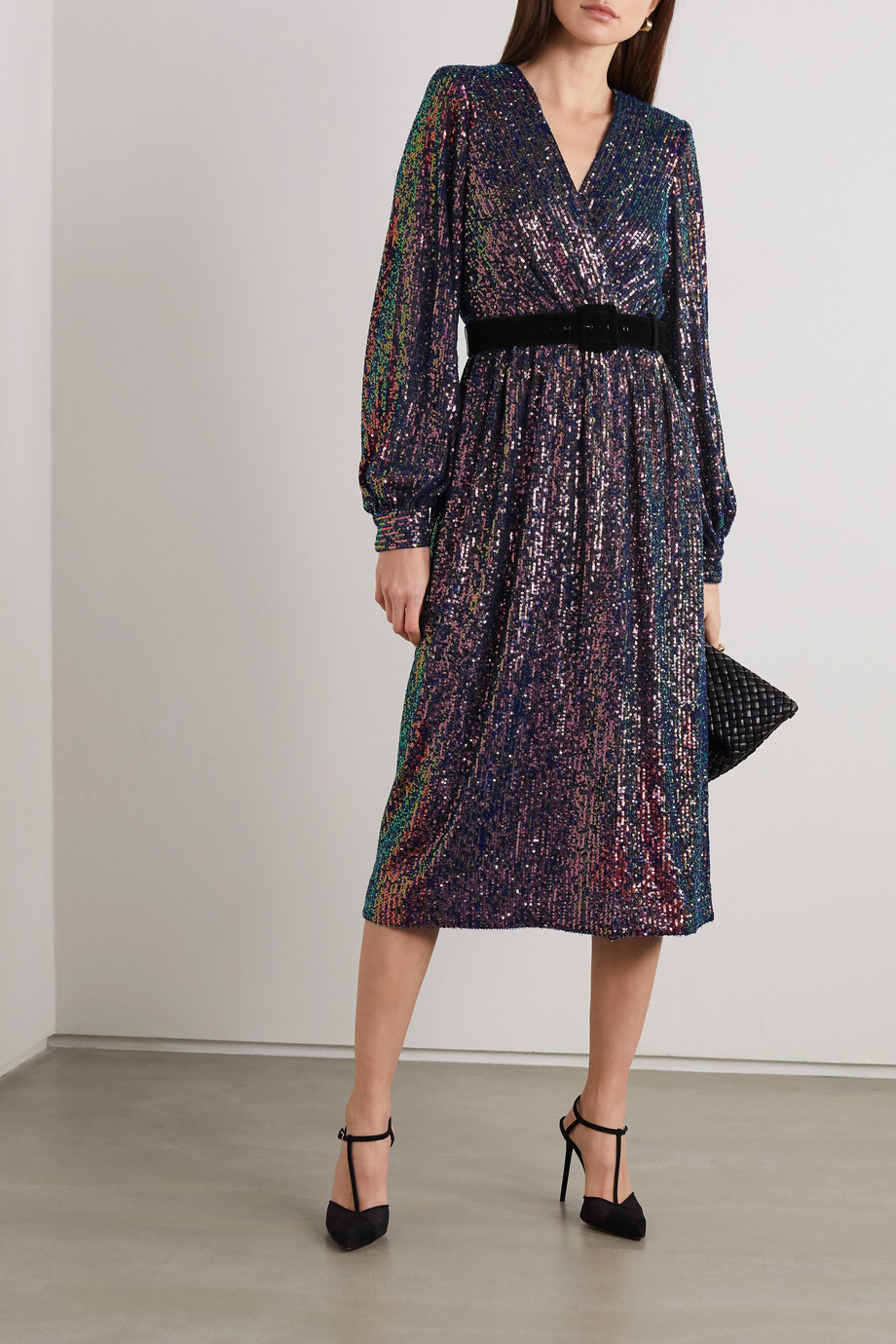 REBECCA VALLANCE Roxbury belted wrap-effect sequined chiffon midi dress