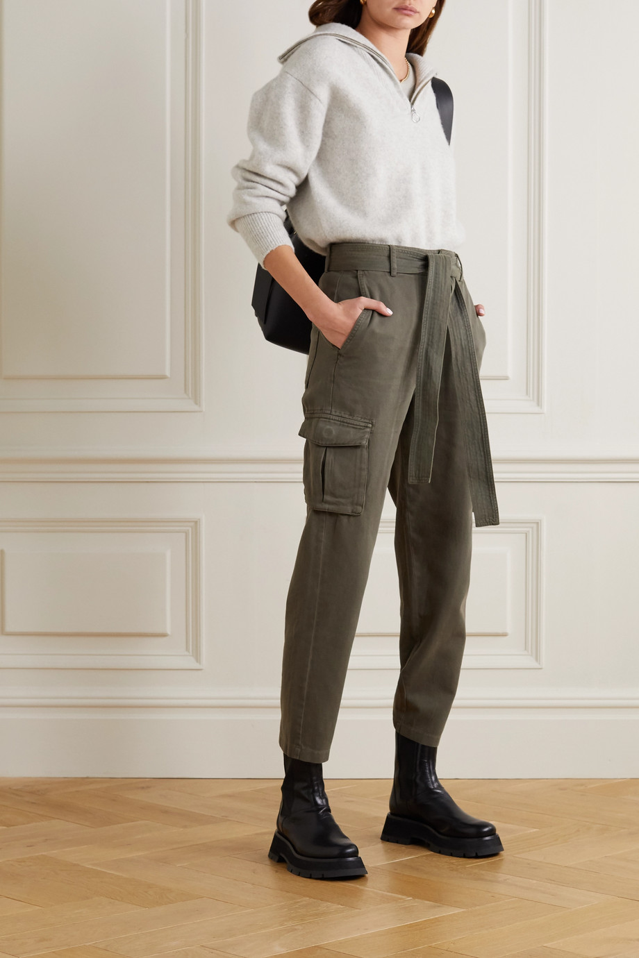 ANINE BING Kennedy belted cotton-twill tapered pants