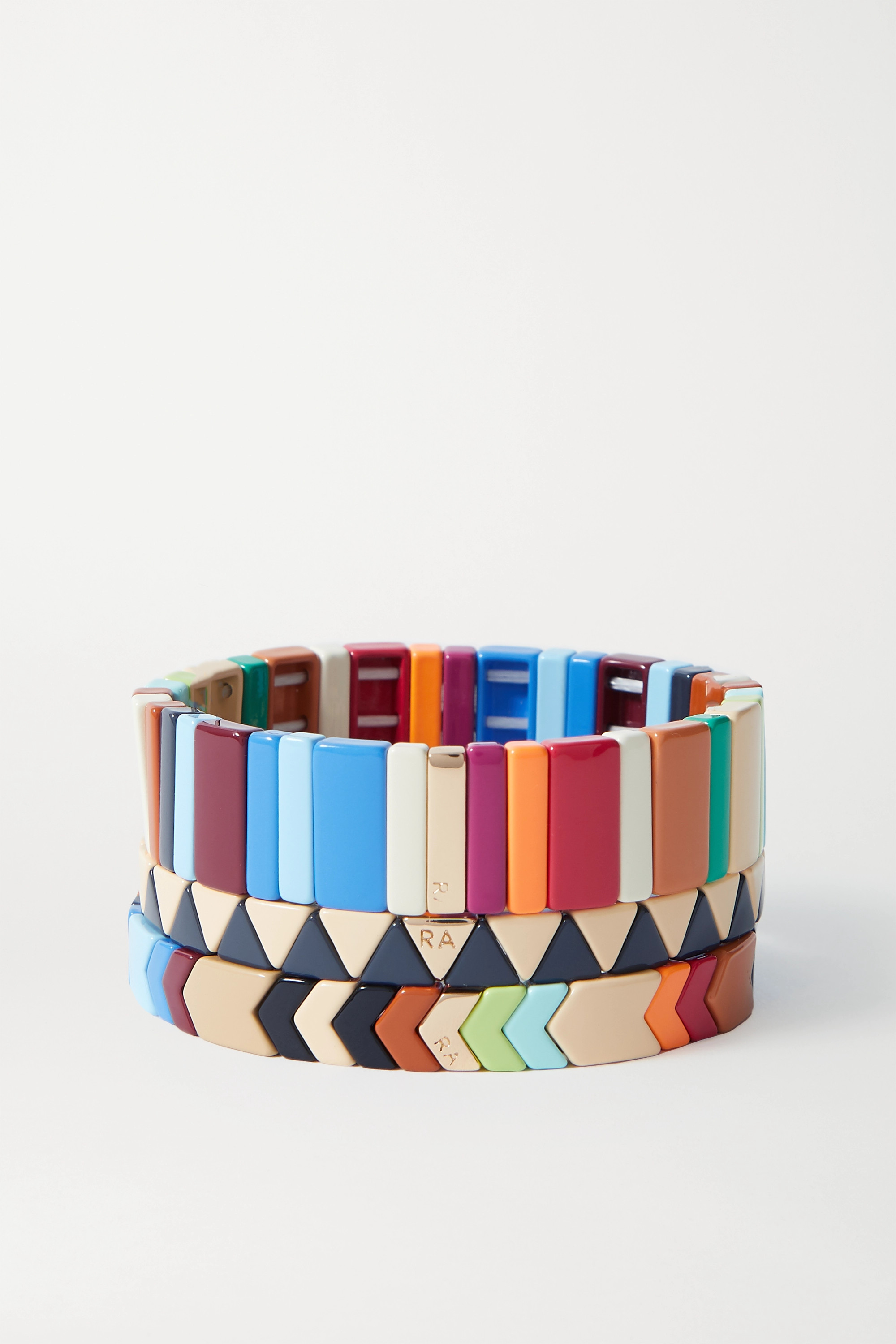 ROXANNE ASSOULIN Grounded Rainbow set of three enamel and gold-tone bracelets