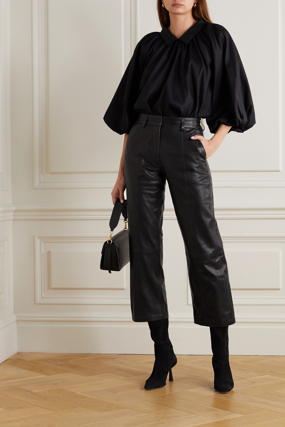 ANINE BING Leah cropped leather straight-leg pants