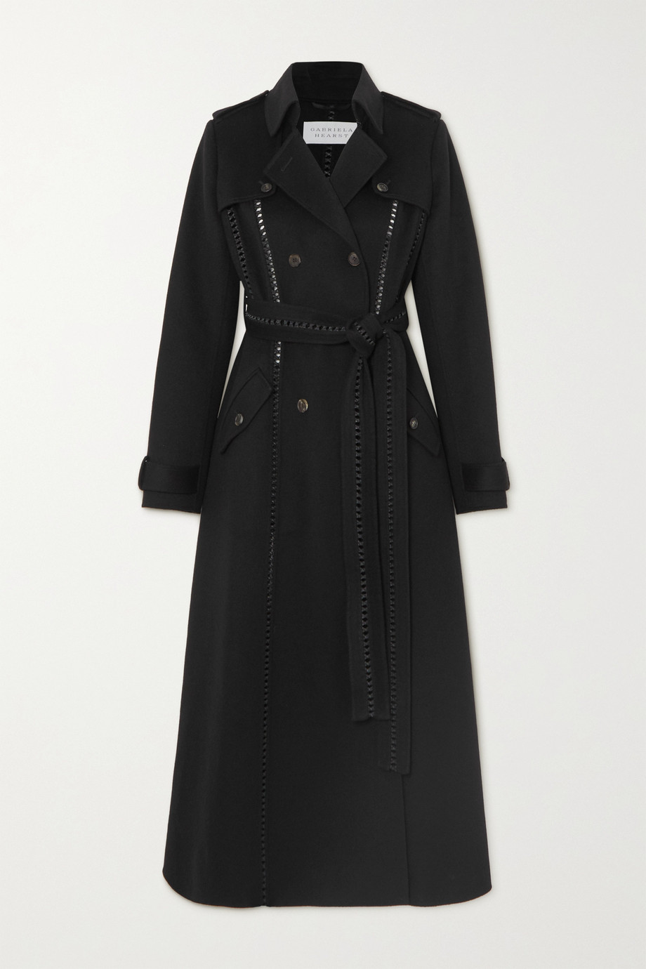 Gabriela Hearst Franz belted leather-trimmed cashmere trench coat