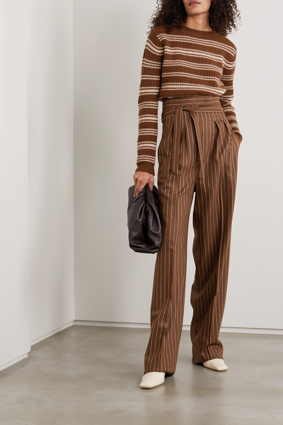 MAX MARA Lisotte belted pinstriped wool-blend wide-leg pants