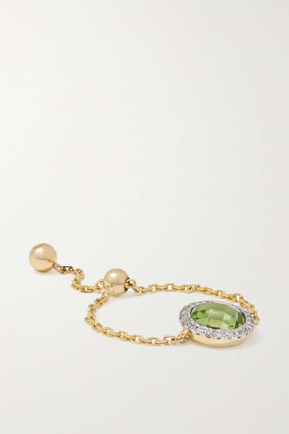 ANISSA KERMICHE 14-karat gold, peridot and diamond ring
