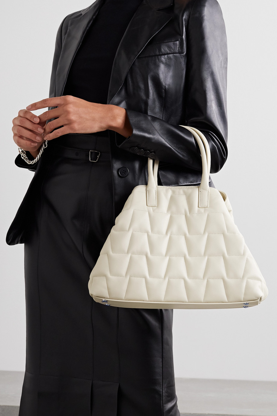 Akris Ai Messenger small quilted leather tote