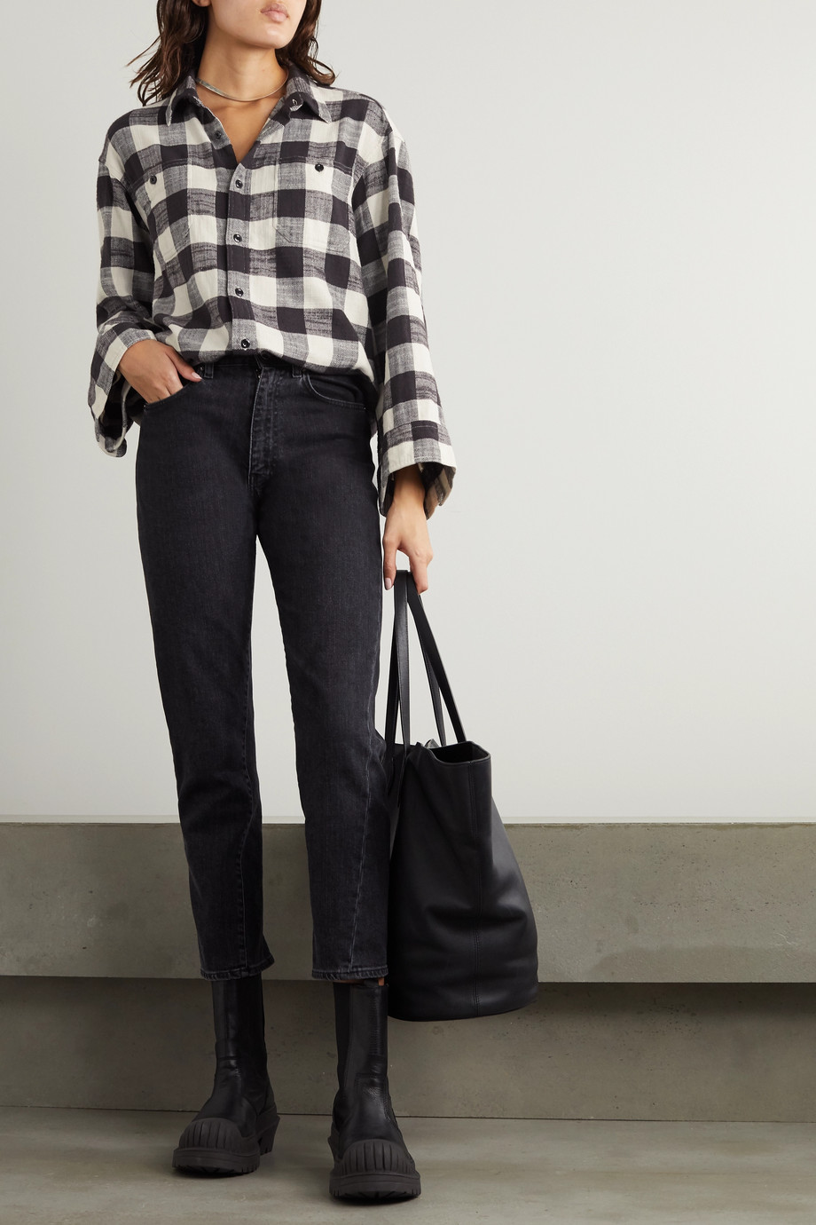R13 Oversized checked cotton-gauze shirt