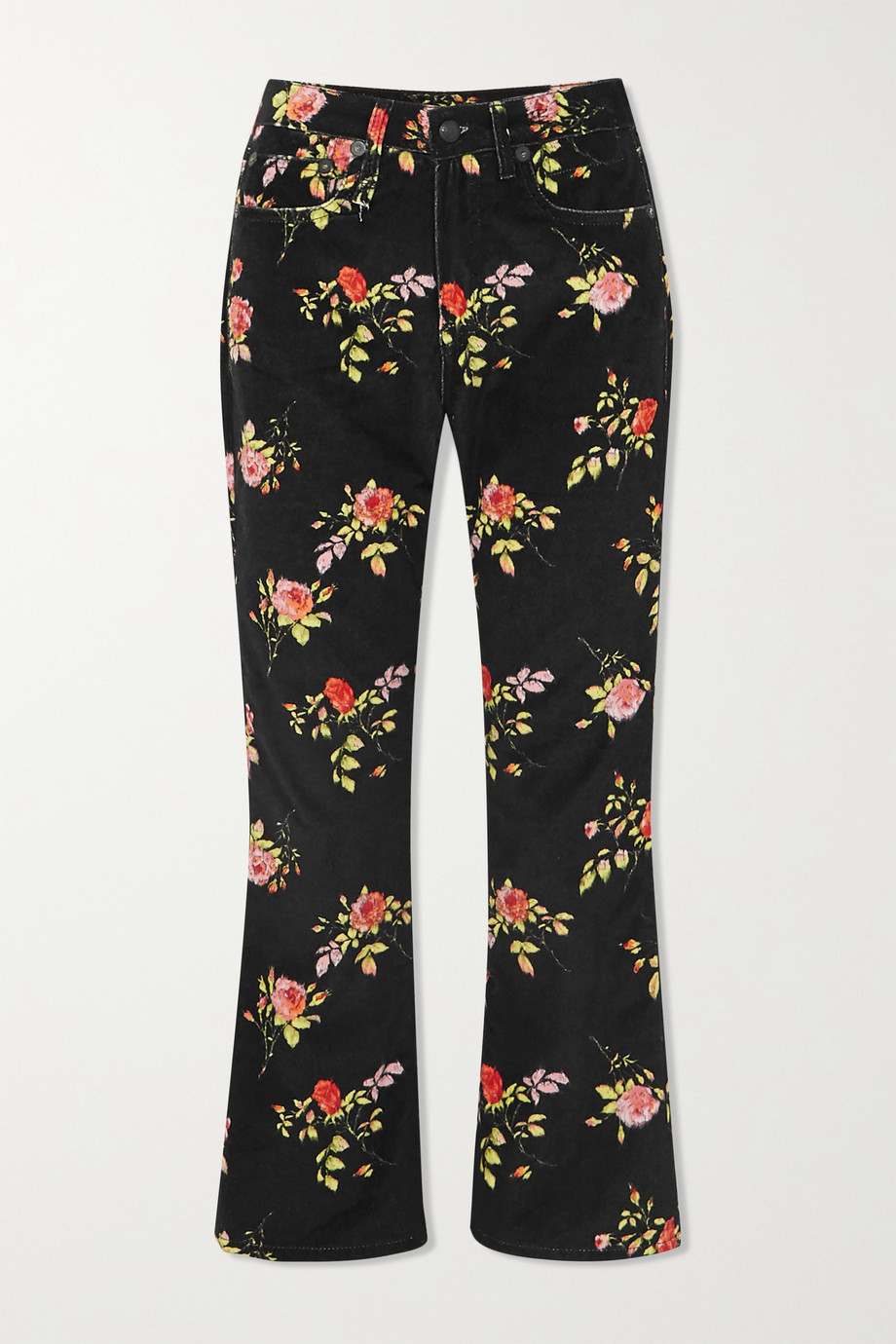 R13 Kick Fit cropped floral-print high-rise flared jeans