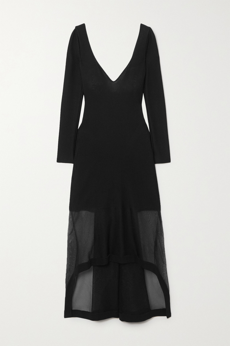ALEXANDER MCQUEEN Layered ribbed-knit and tulle dress