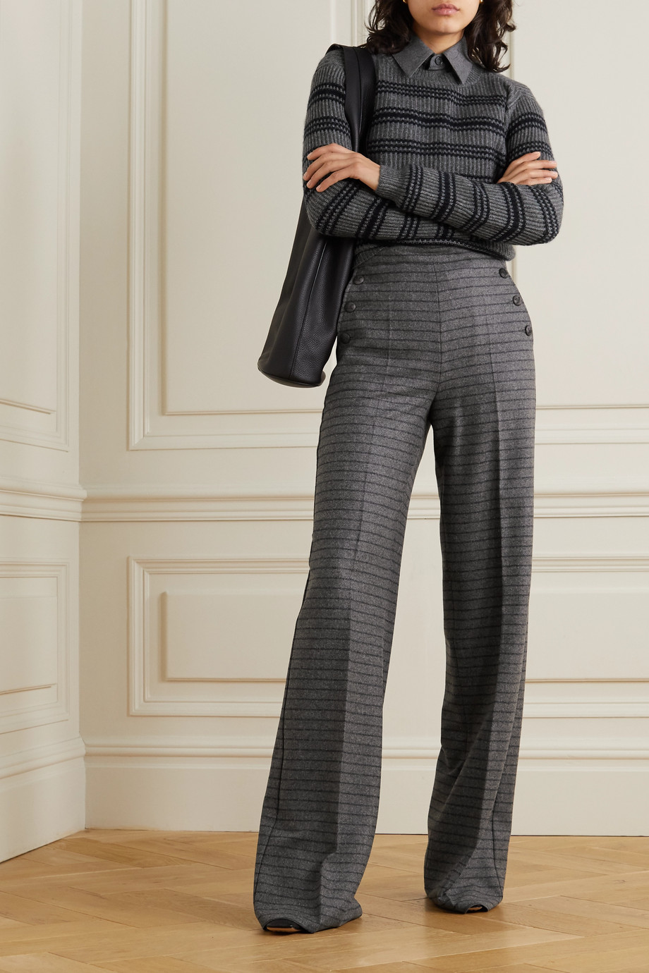MAX MARA Arancio striped wool and cashmere-blend wide-leg pants