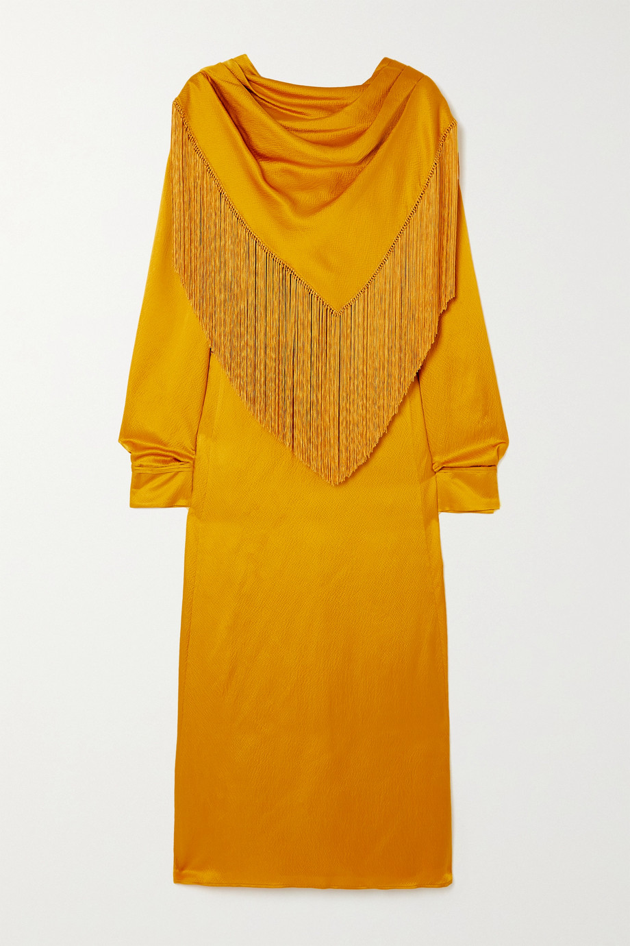 Gabriela Hearst Fringed draped silk-cloqué midi dress