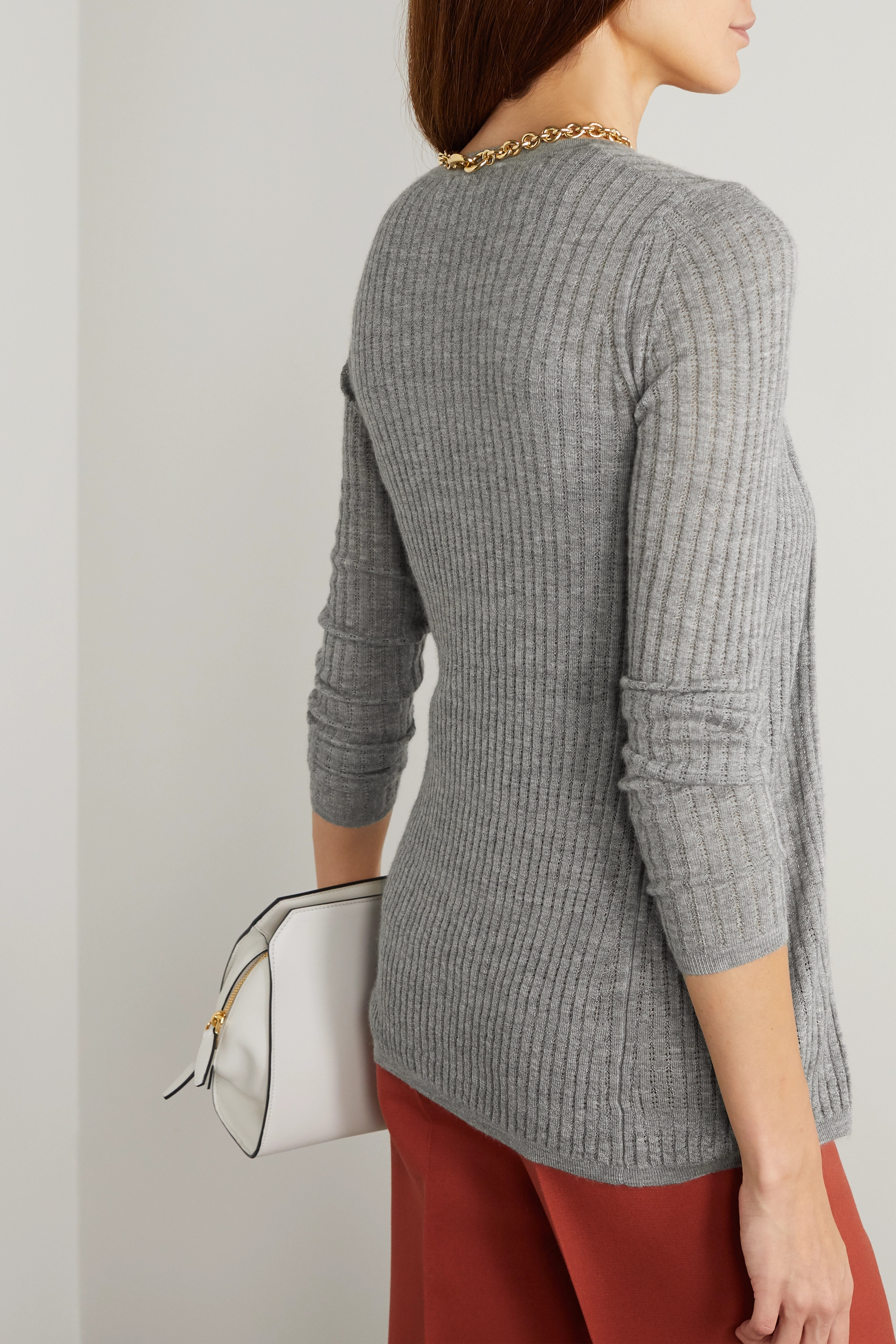 Gabriela Hearst Emma pointelle-knit cashmere and silk-blend cardigan