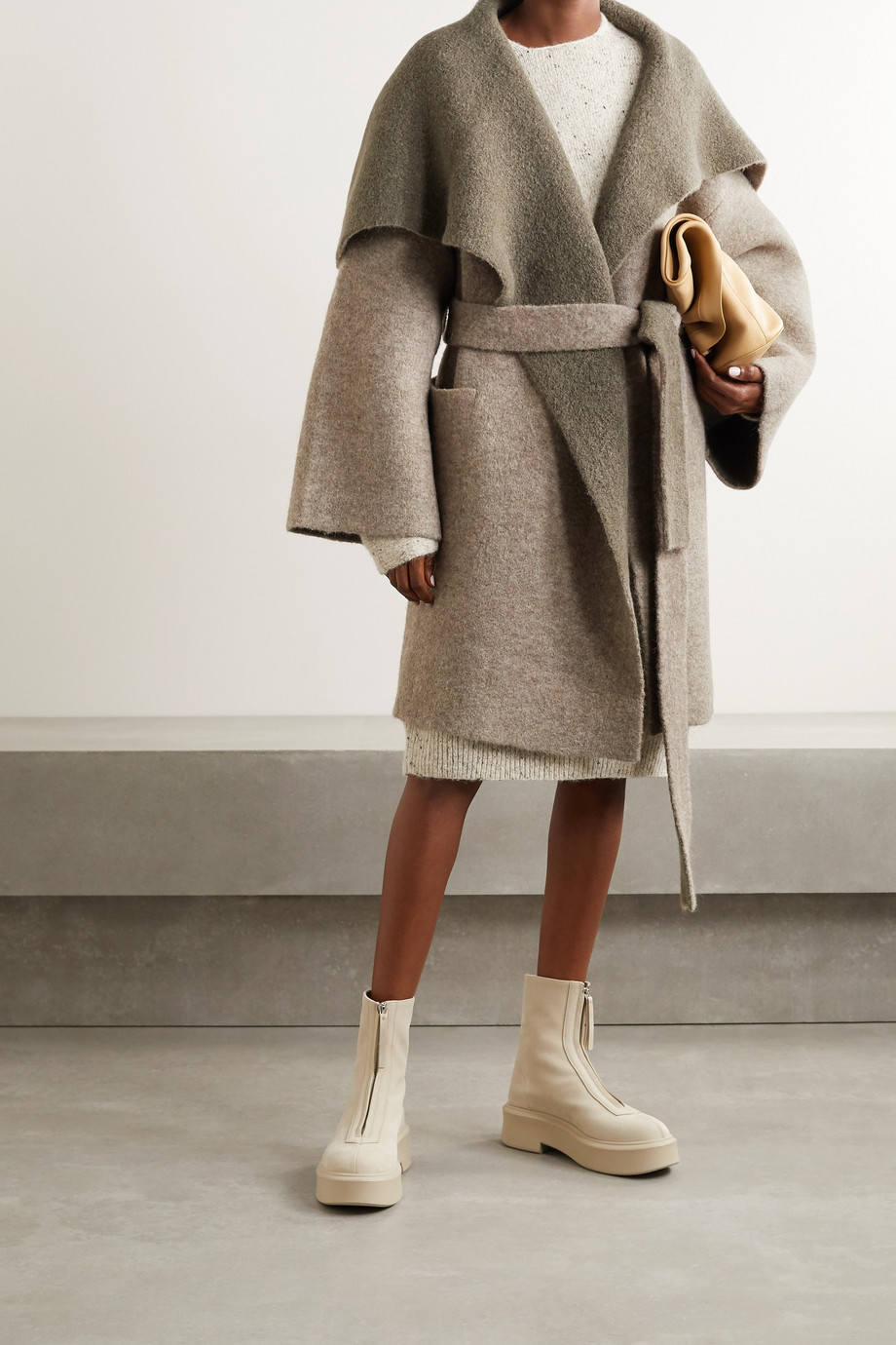 LAUREN MANOOGIAN + NET SUSTAIN belted knitted coat