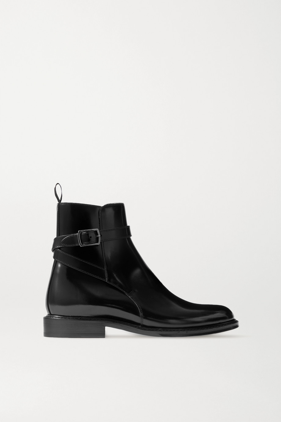 SAINT LAURENT Army glossed-leather ankle boots