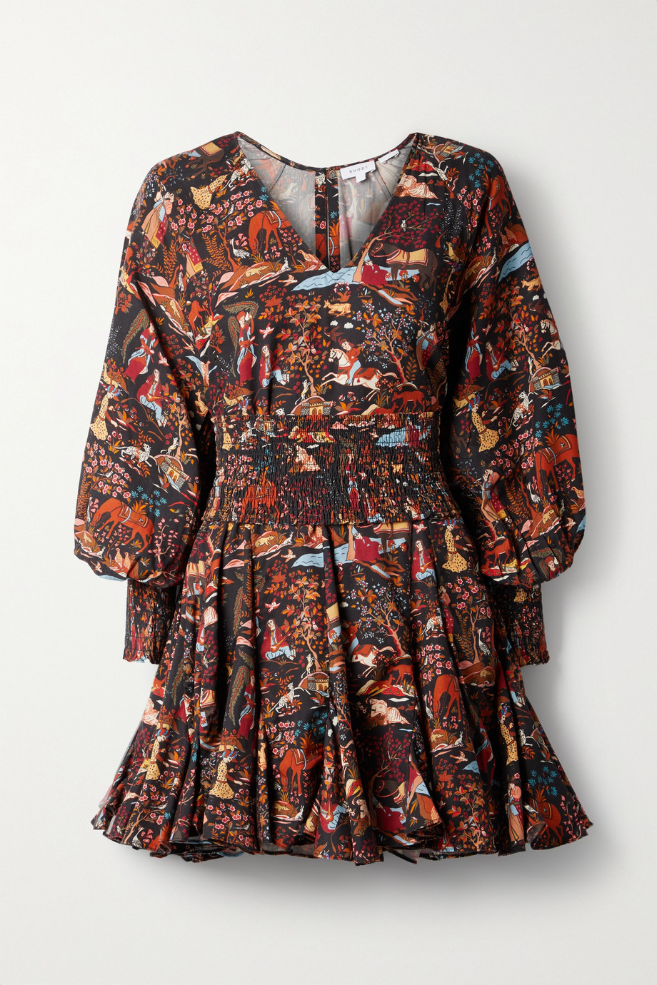 RHODE Olivia belted printed TENCEL-twill mini dress
