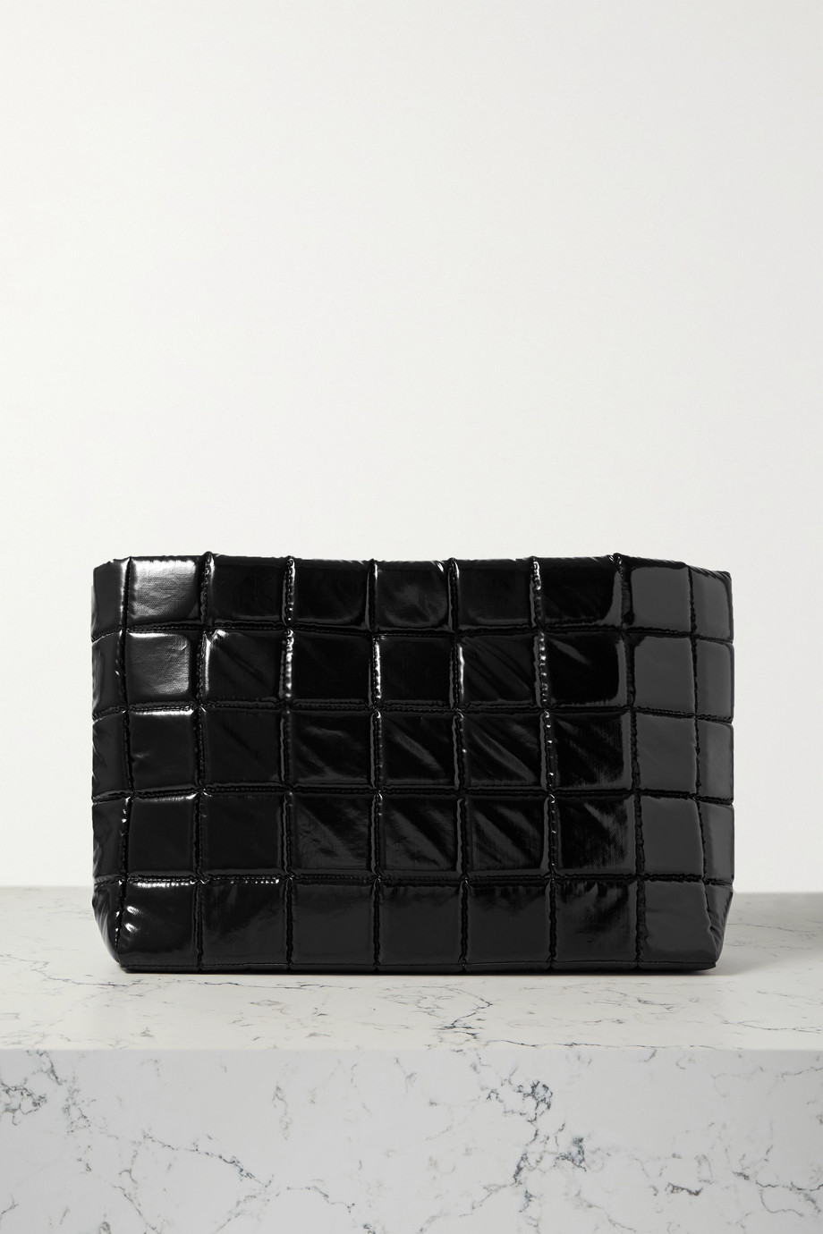 A.W.A.K.E. MODE Large quilted faux glossed-leather clutch