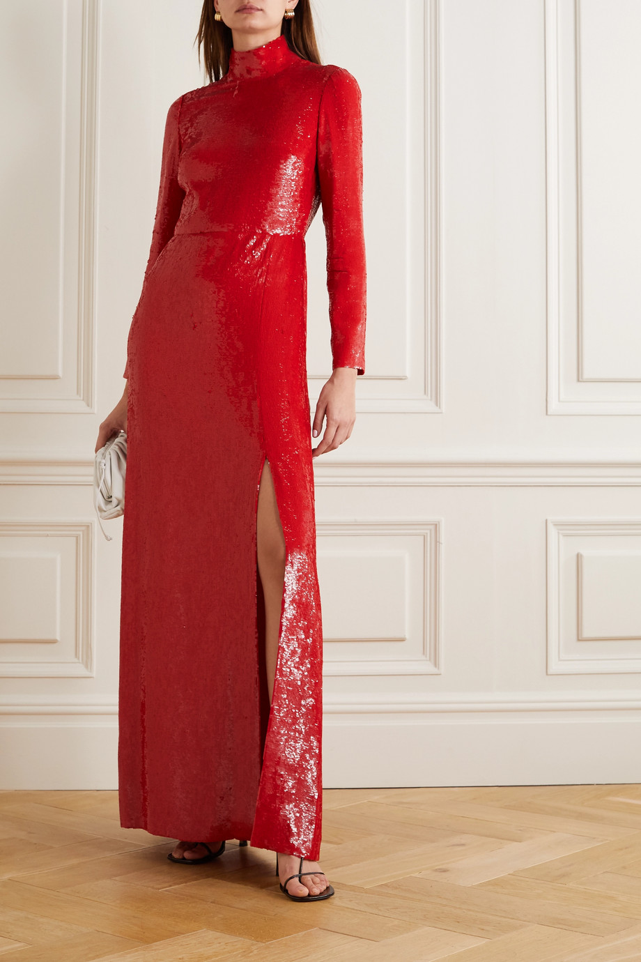 VALENTINO Sequined silk turtleneck gown