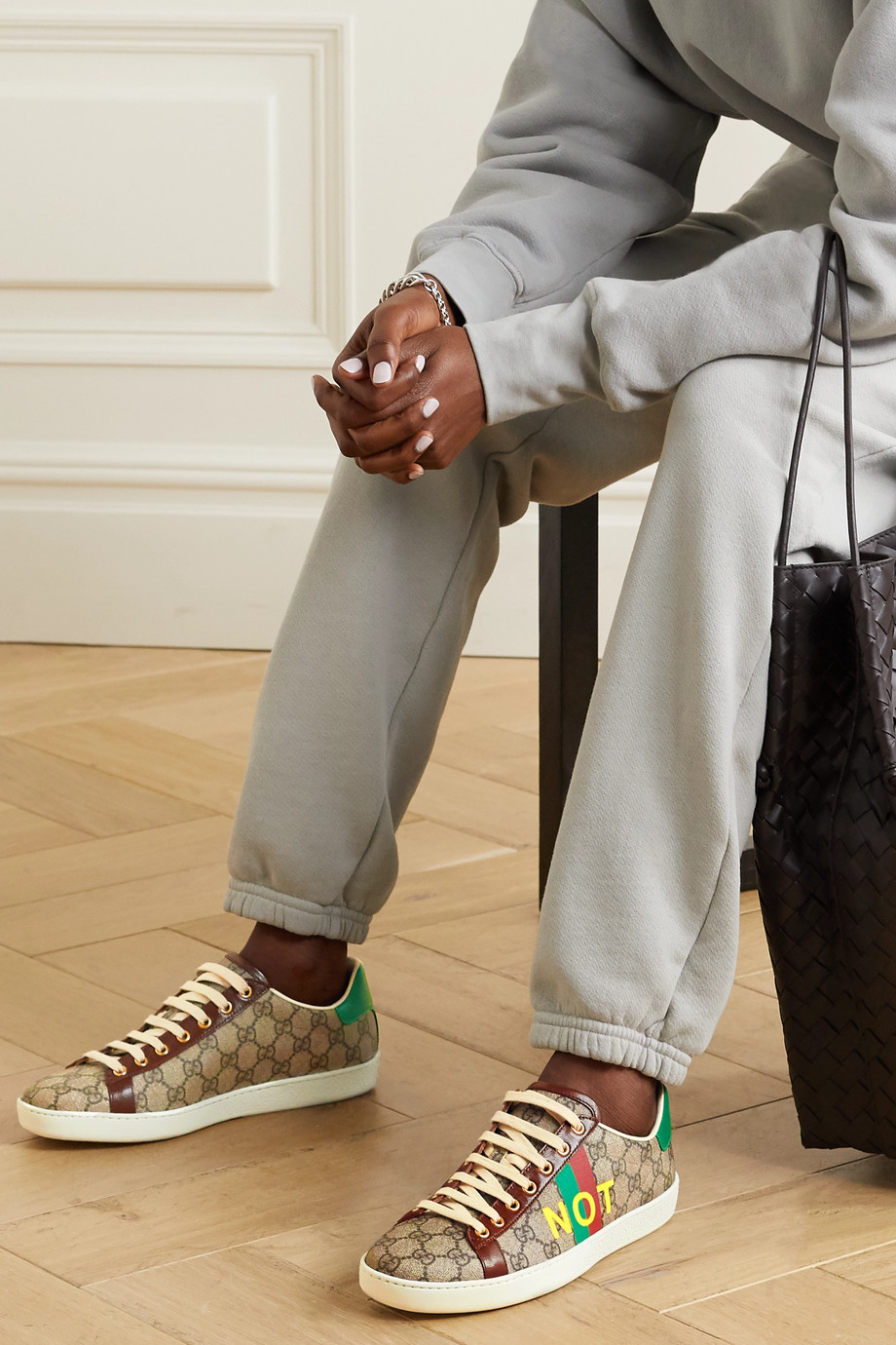 GUCCI New Ace leather-trimmed printed coated-canvas sneakers