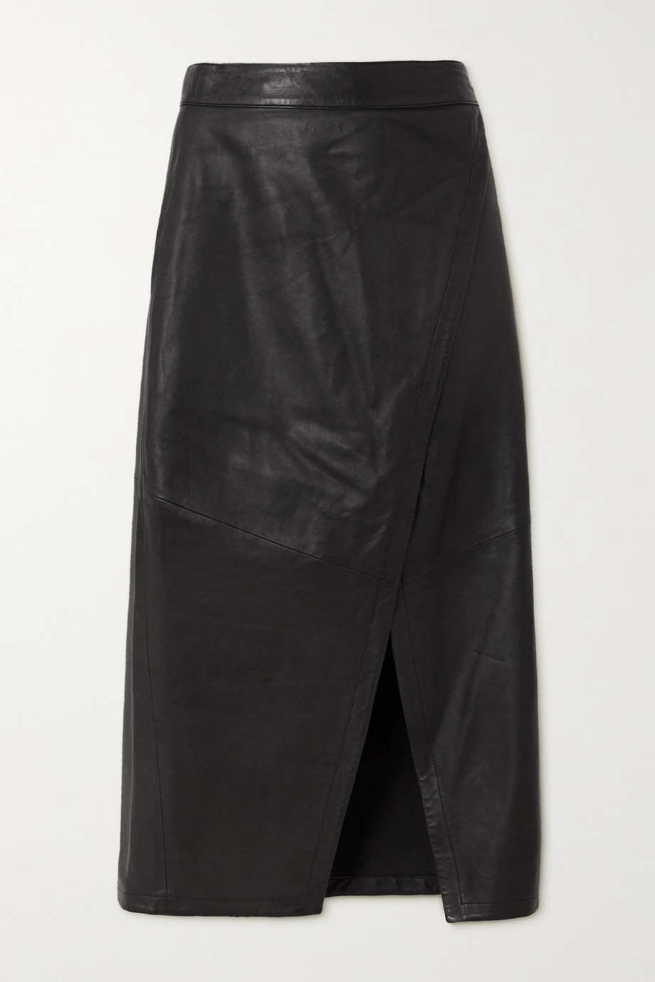 ENVELOPE1976 Hurum leather wrap midi skirt