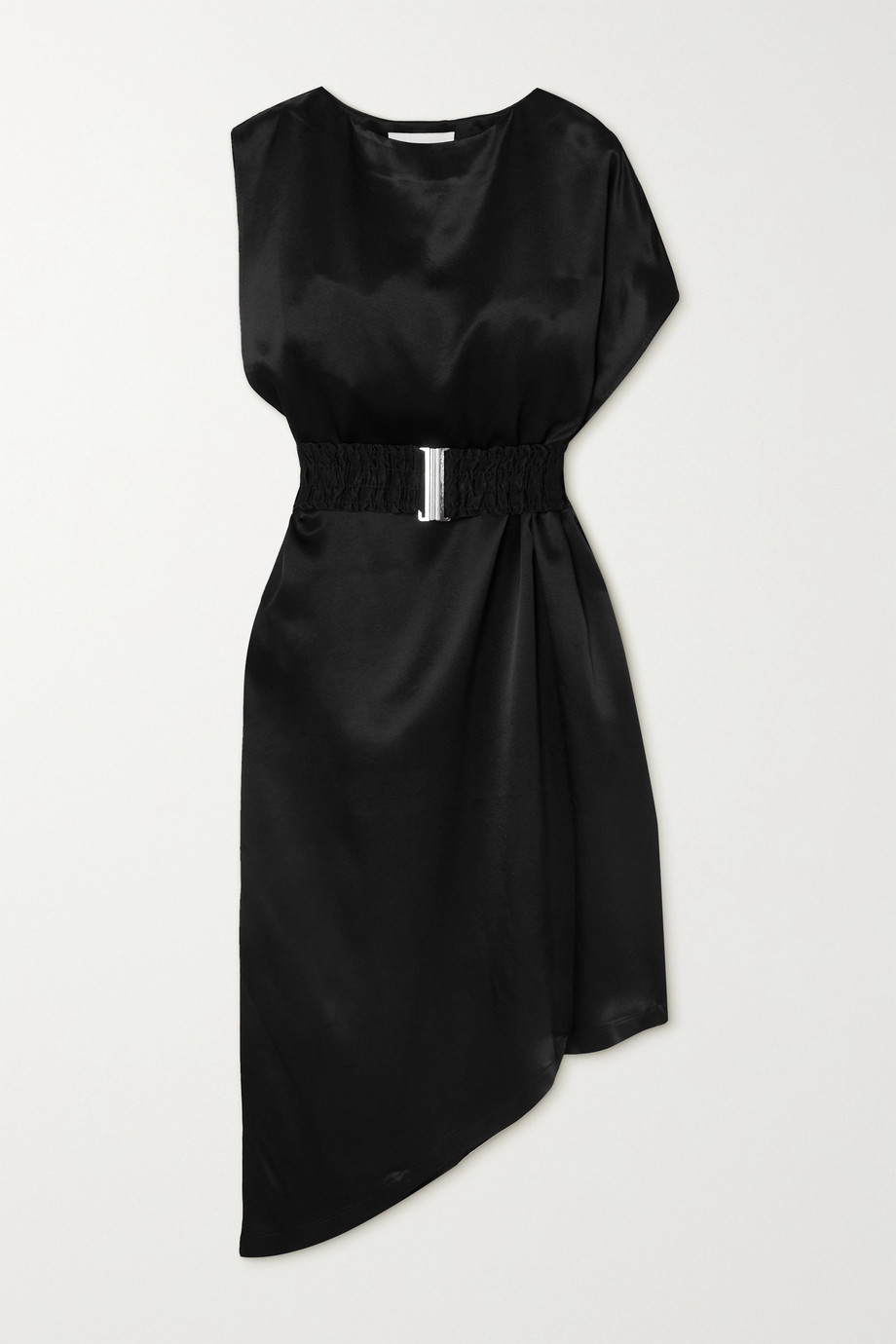 ENVELOPE1976 + NET SUSTAIN Bordeaux asymmetric belted satin dress