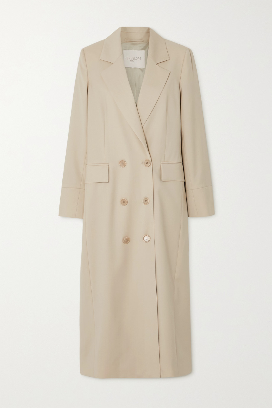 ENVELOPE1976 + NET SUSTAIN Gala double-breasted wool-gabardine coat