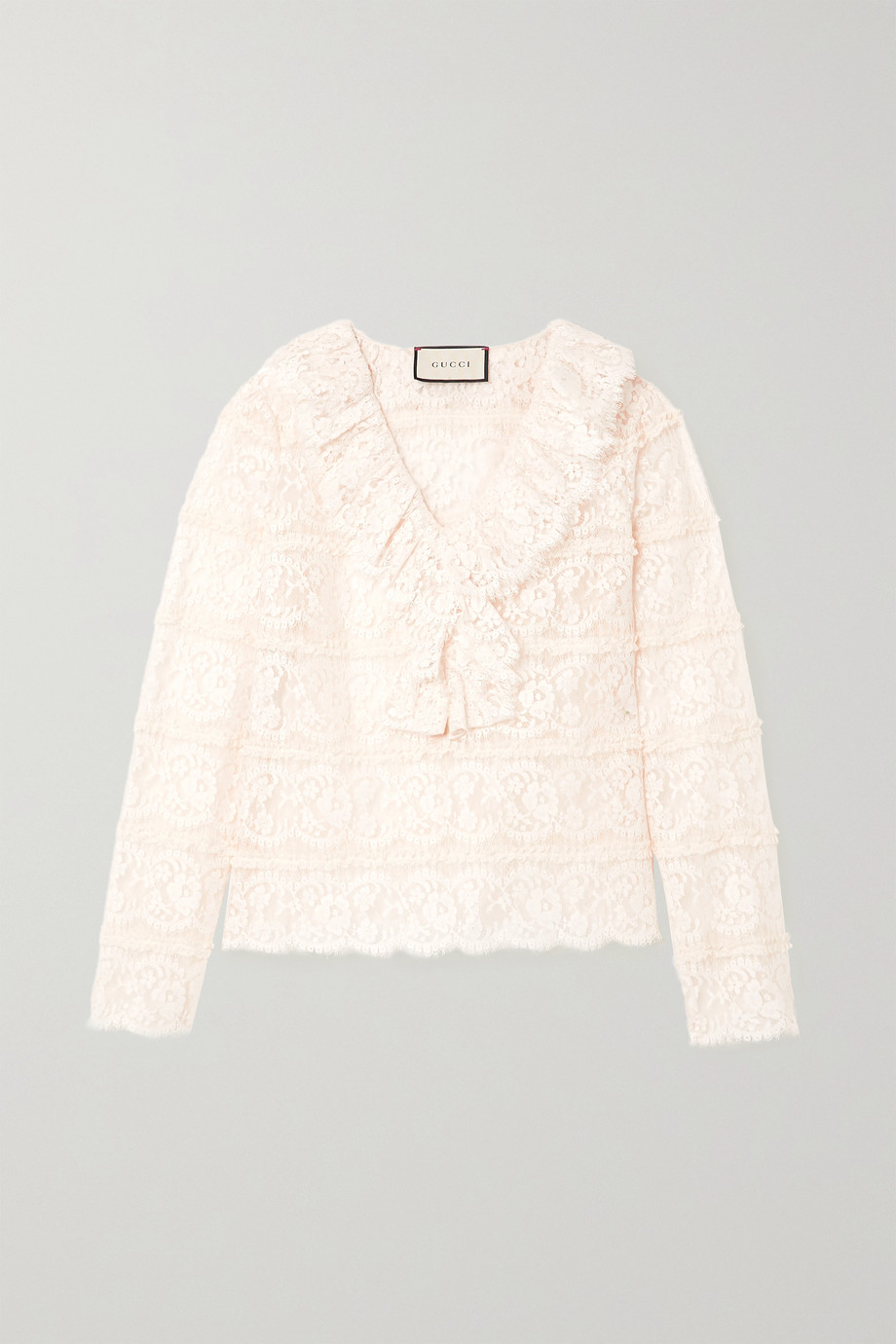 GUCCI Ruffled cotton-blend lace blouse