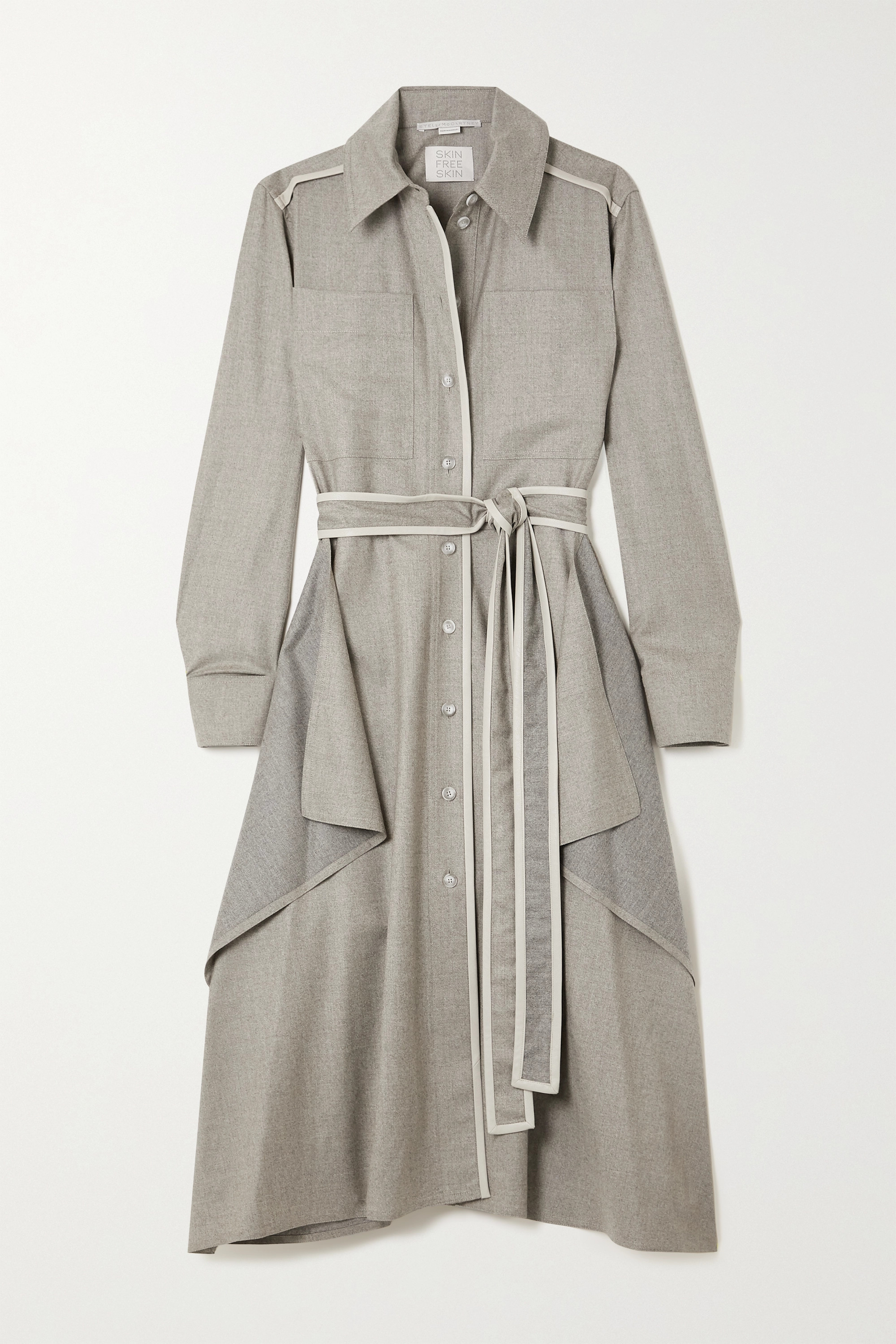 STELLA MCCARTNEY Leilani belted vegetarian leather-trimmed wool-flannel shirt dress