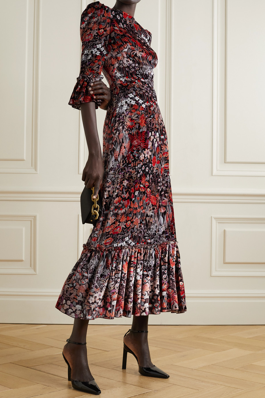 THE VAMPIRE'S WIFE The Festival ruffled floral-print velvet midi dress