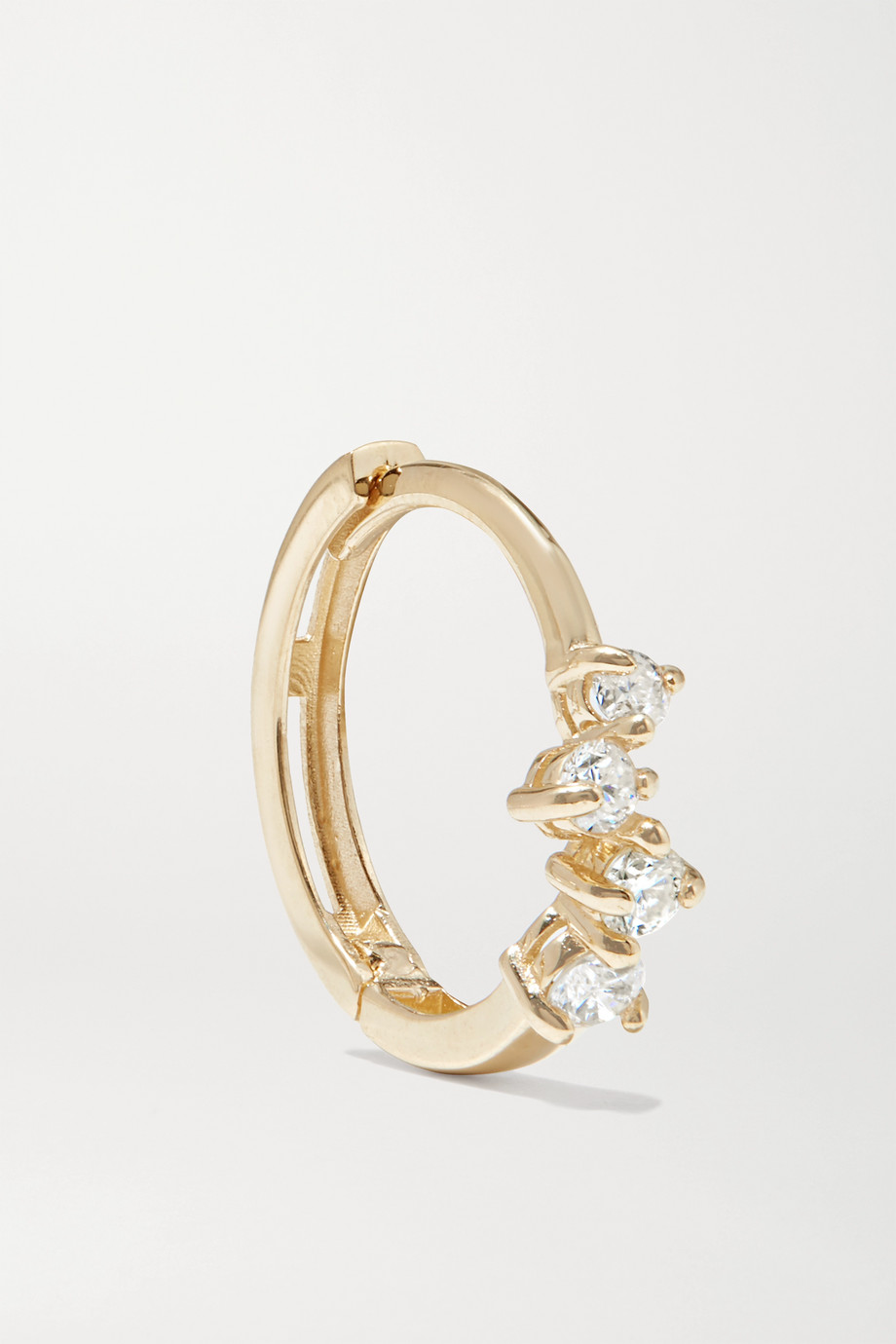 STONE AND STRAND Sparkle gold diamond hoop earrings