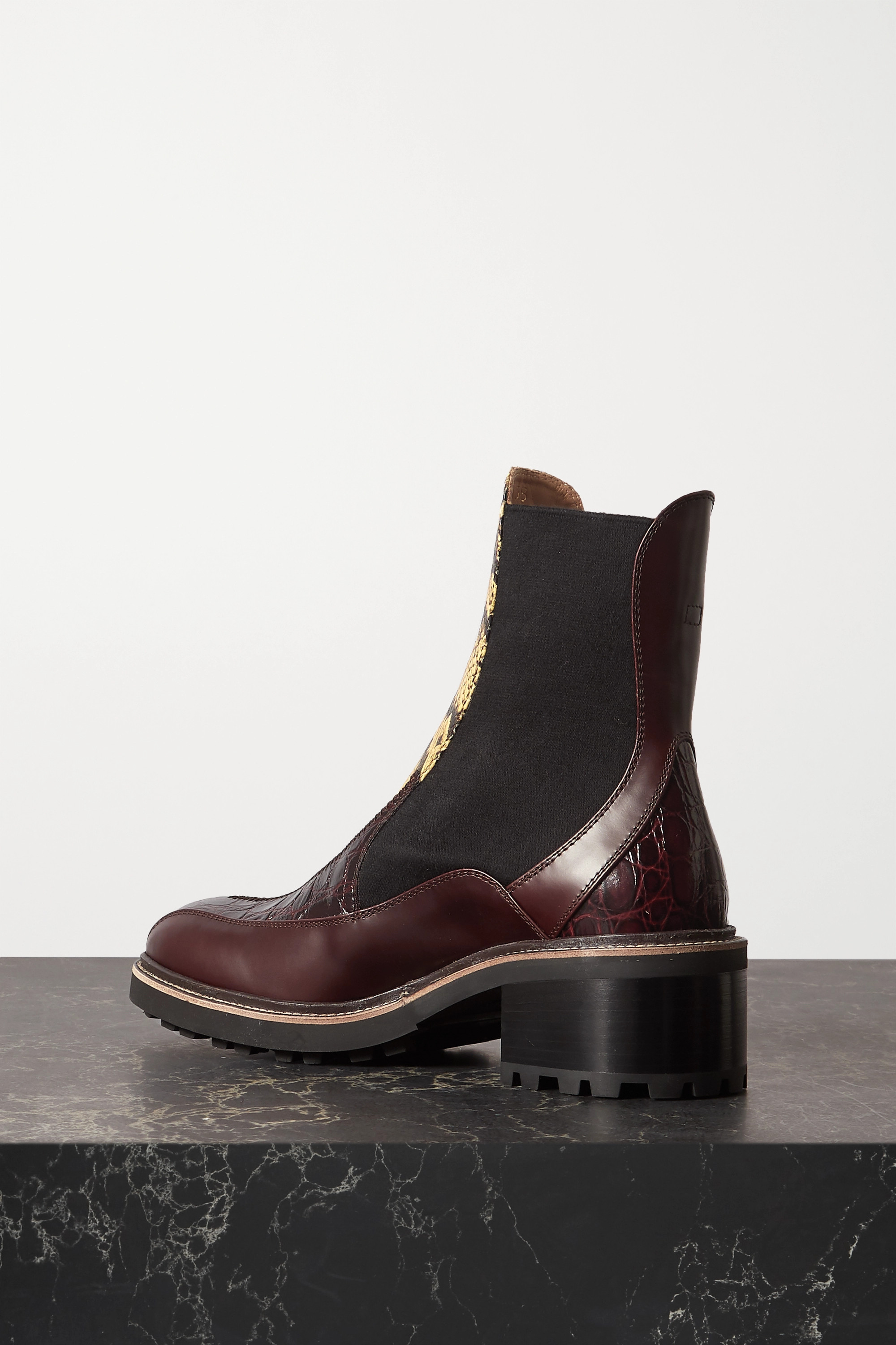 CHLOÉ Paneled snake-effect and smooth leather Chelsea boots