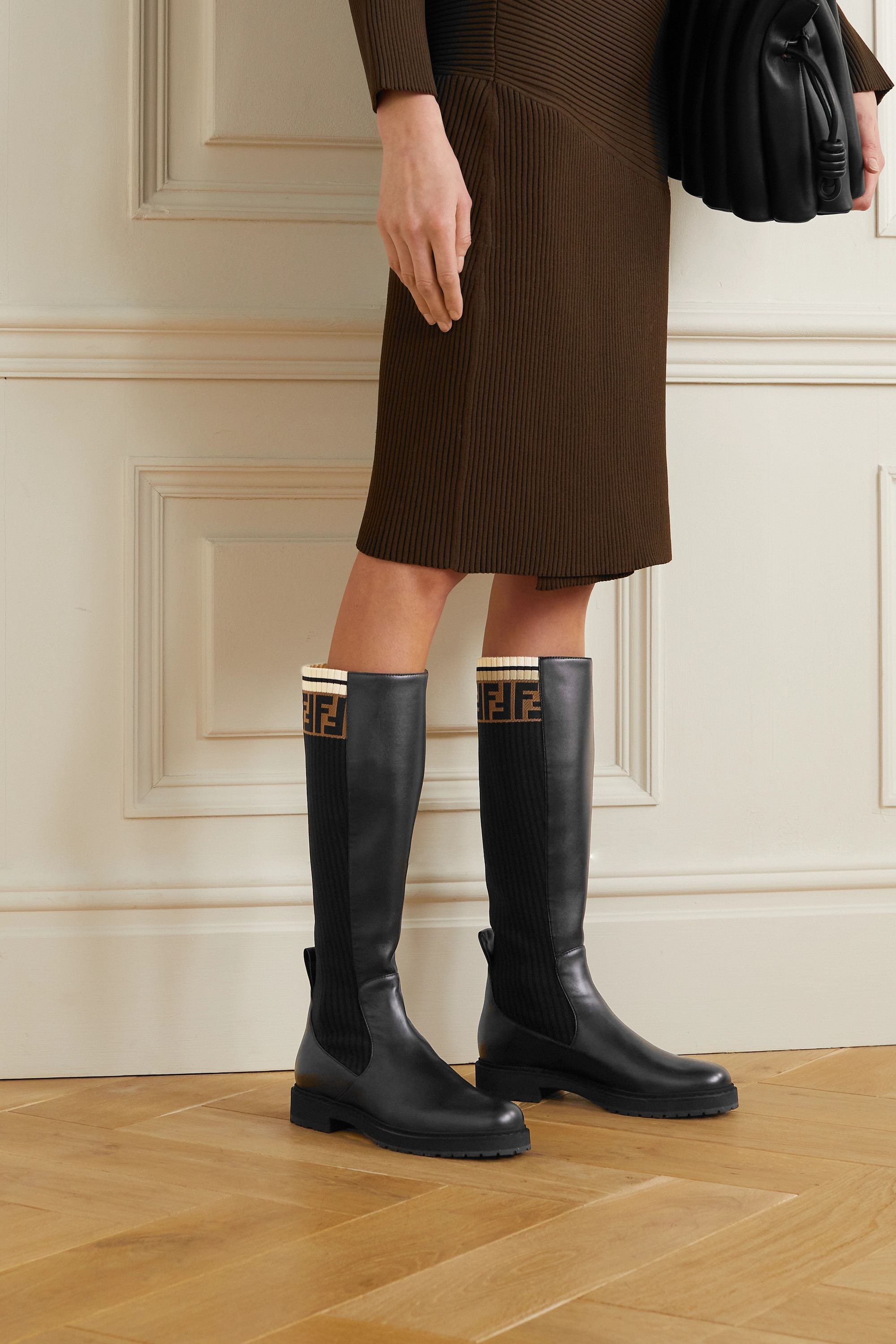 FENDI Logo-jacquard stretch-knit and leather knee boots