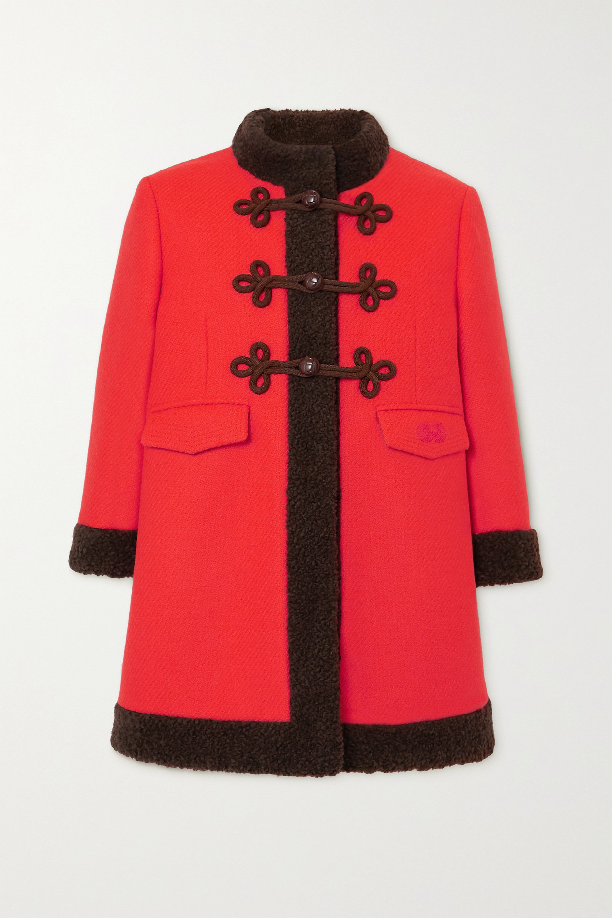 GUCCI - Faux Shearling-trimmed Wool Coat - Red - IT40