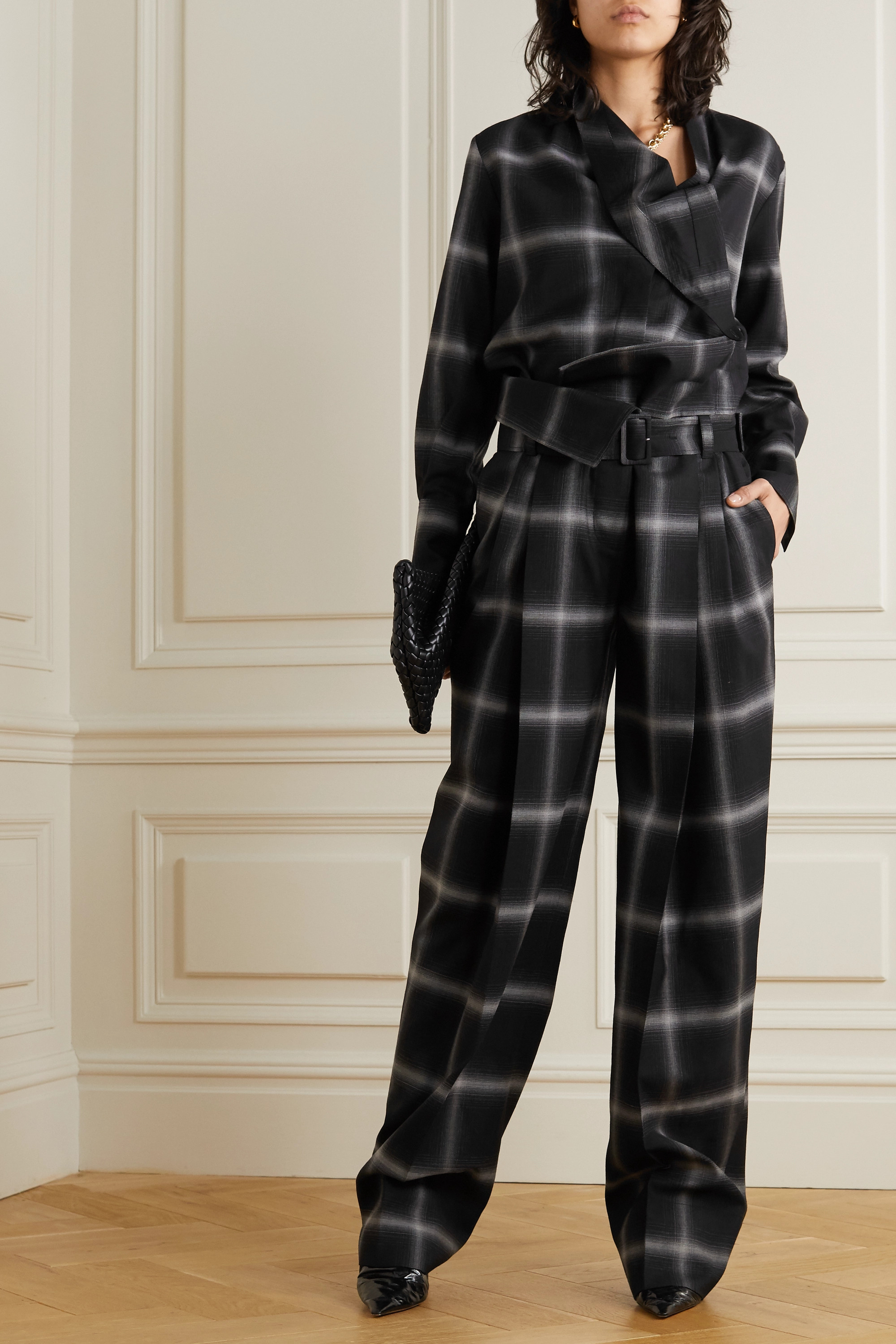 STELLA MCCARTNEY Belted checked wool wide-leg pants