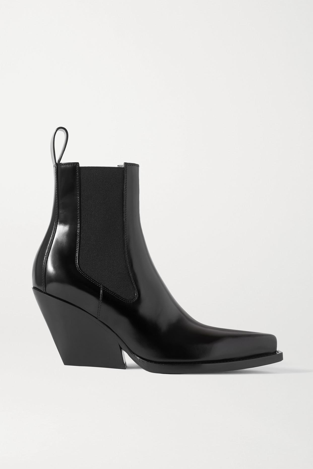 BOTTEGA VENETA - Glossed-leather Ankle Boots - Black - IT37