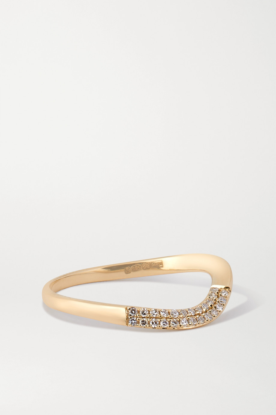 STONE AND STRAND Wavy 14-karat gold diamond ring