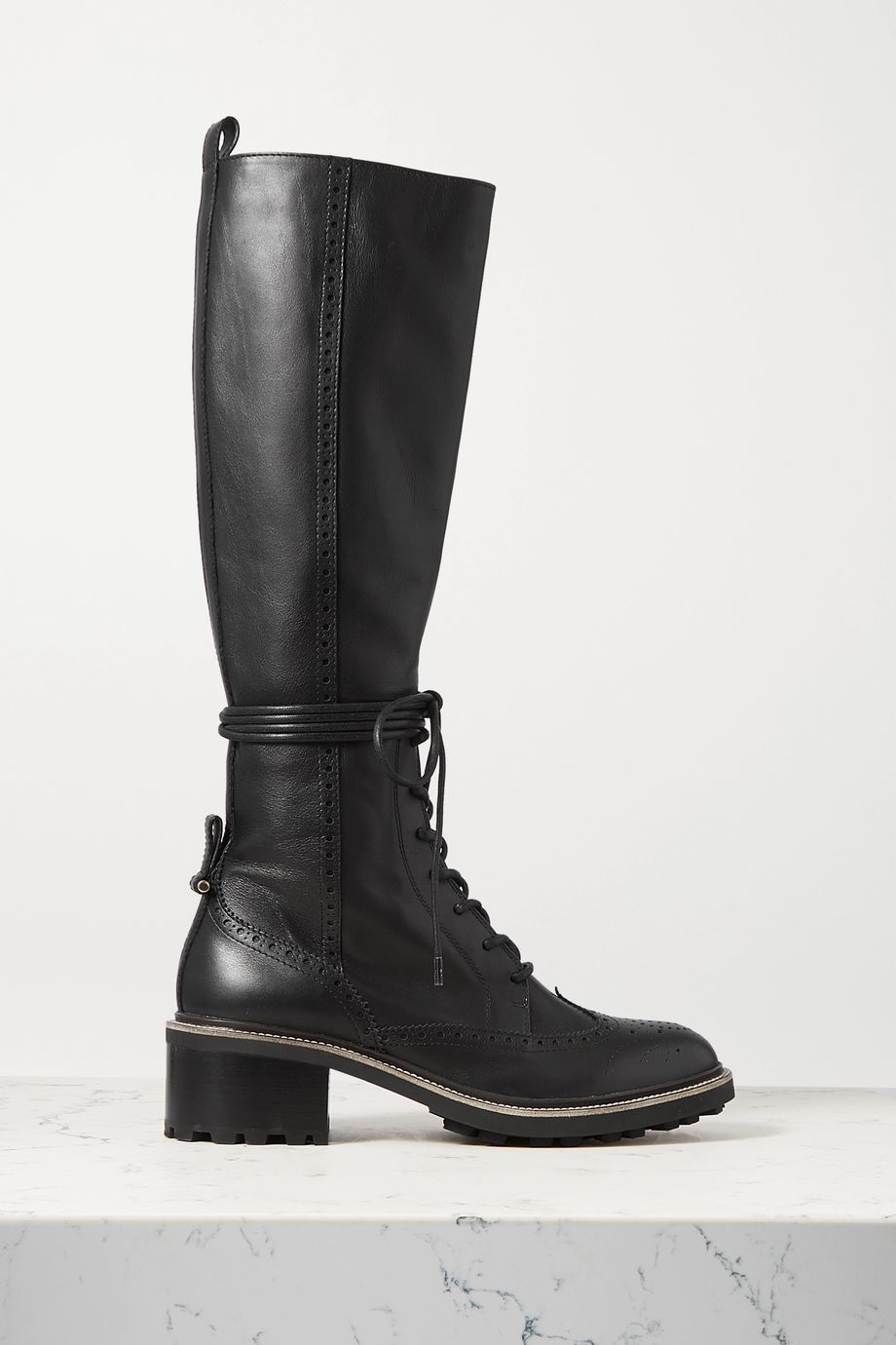 CHLOÉ Franne laser-cut leather knee boots
