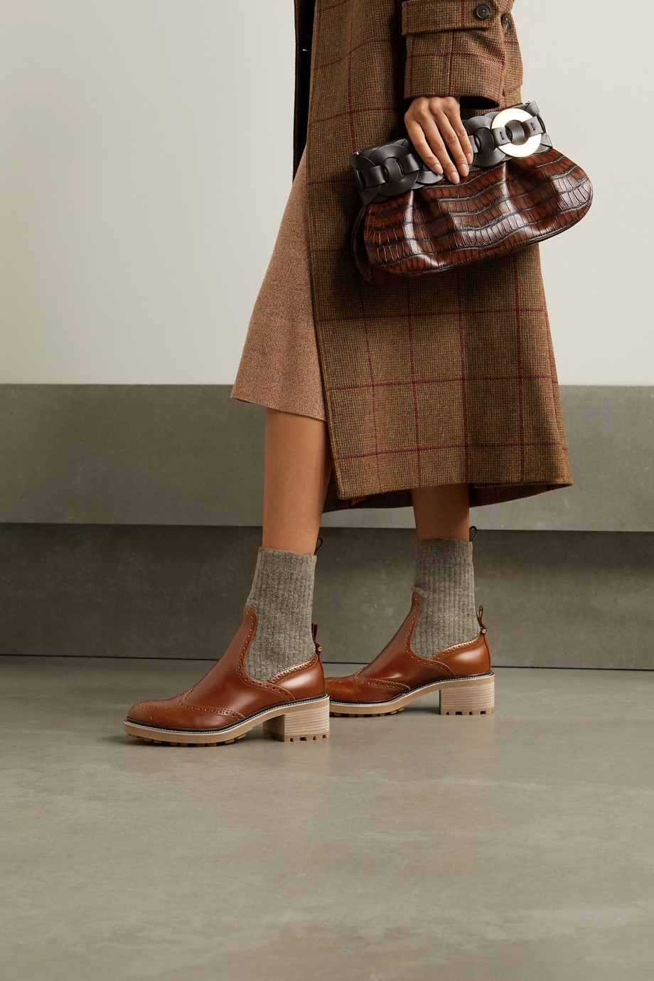 CHLOÉ Franne laser-cut wool and leather ankle boots