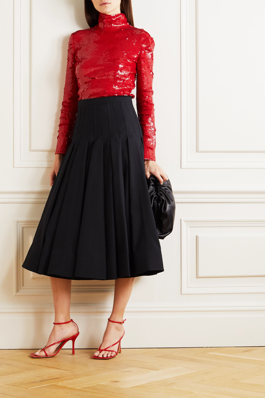 VALENTINO Sequined cotton-blend tulle turtleneck top