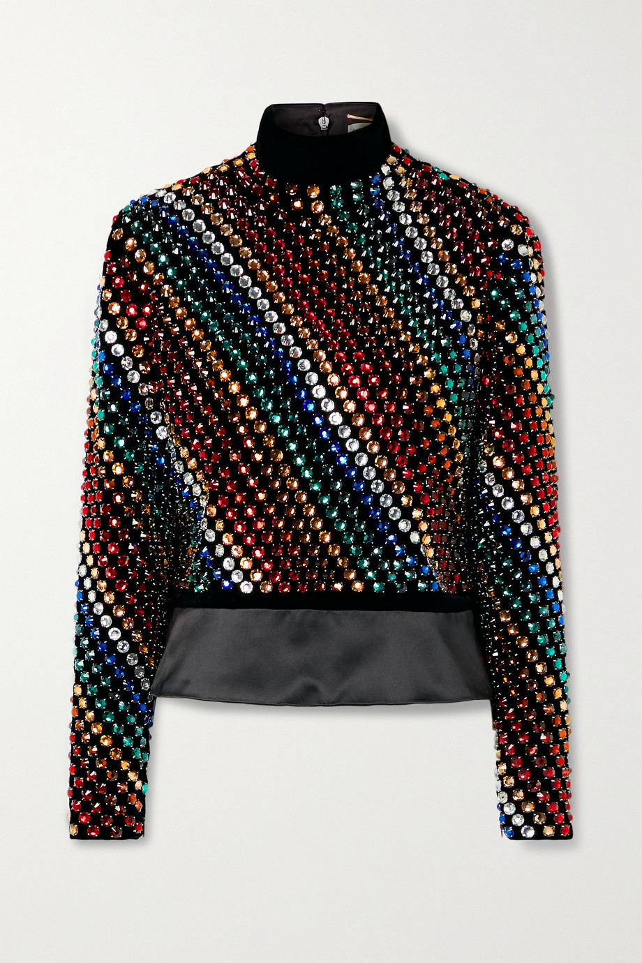 SAINT LAURENT Crystal-embellished velvet turtleneck top