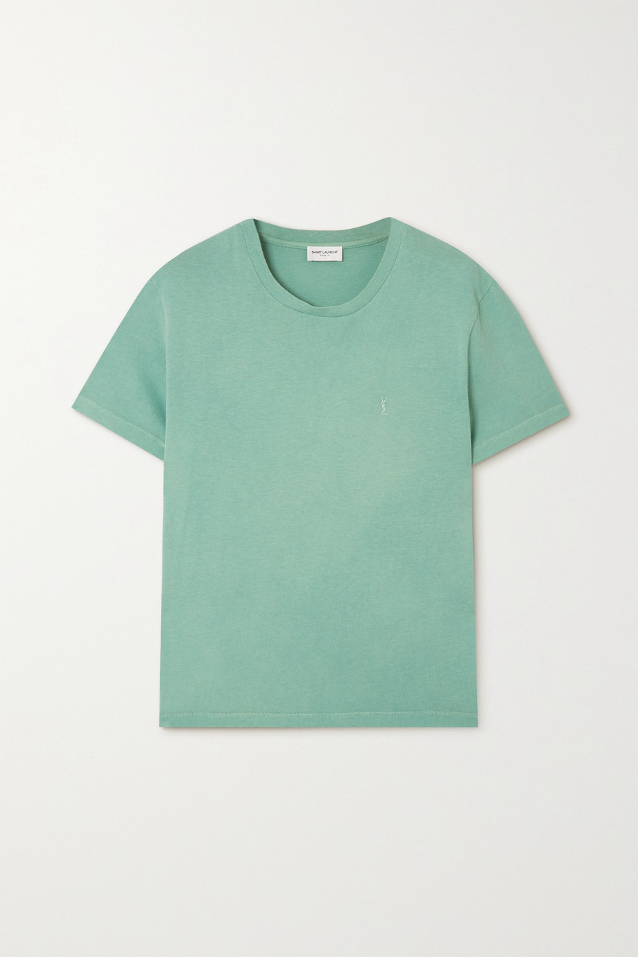 생 로랑 Saint Laurent Distressed embroidered cotton-jersey T-shirt,Light green
