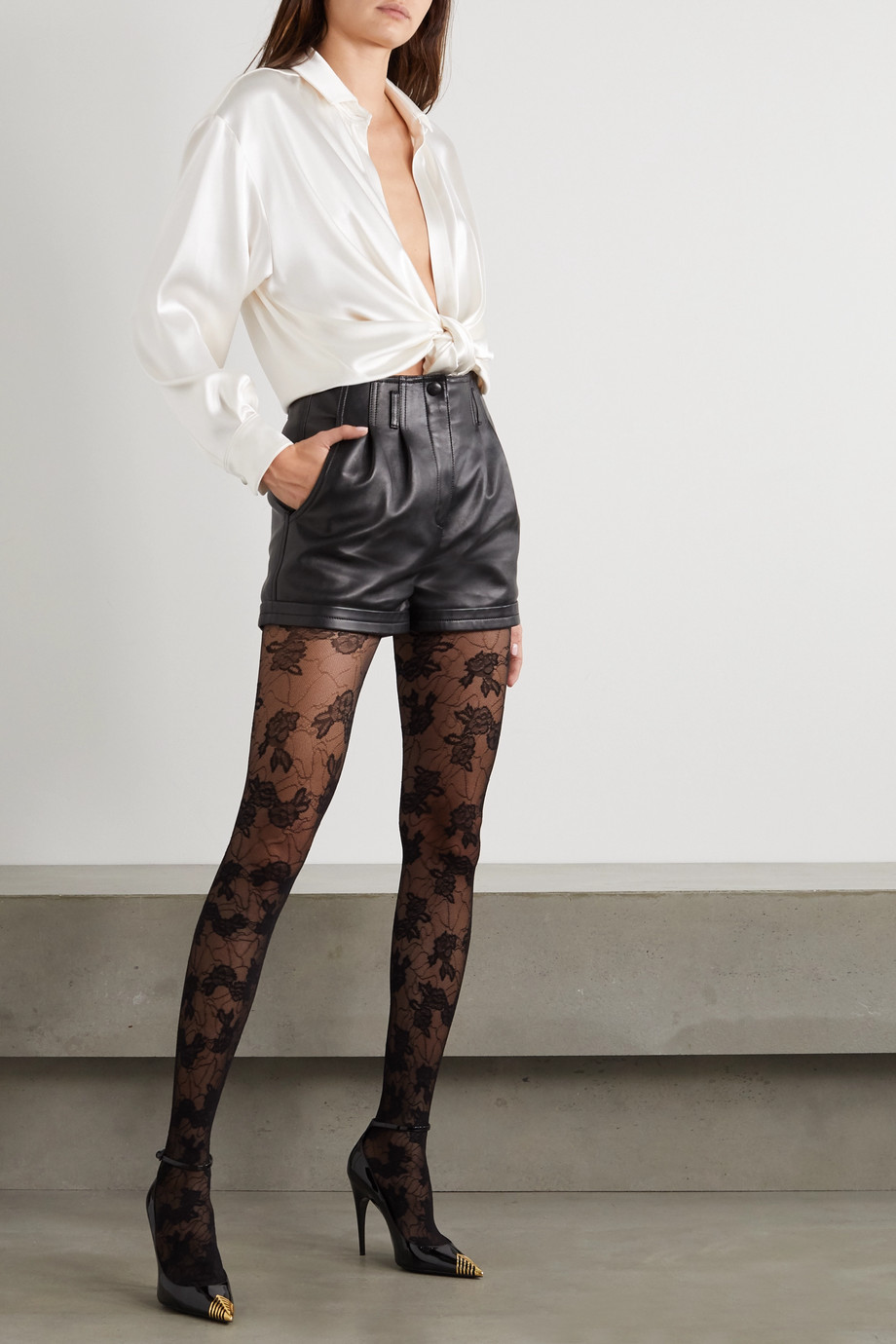 SAINT LAURENT Floral-jacquard tights