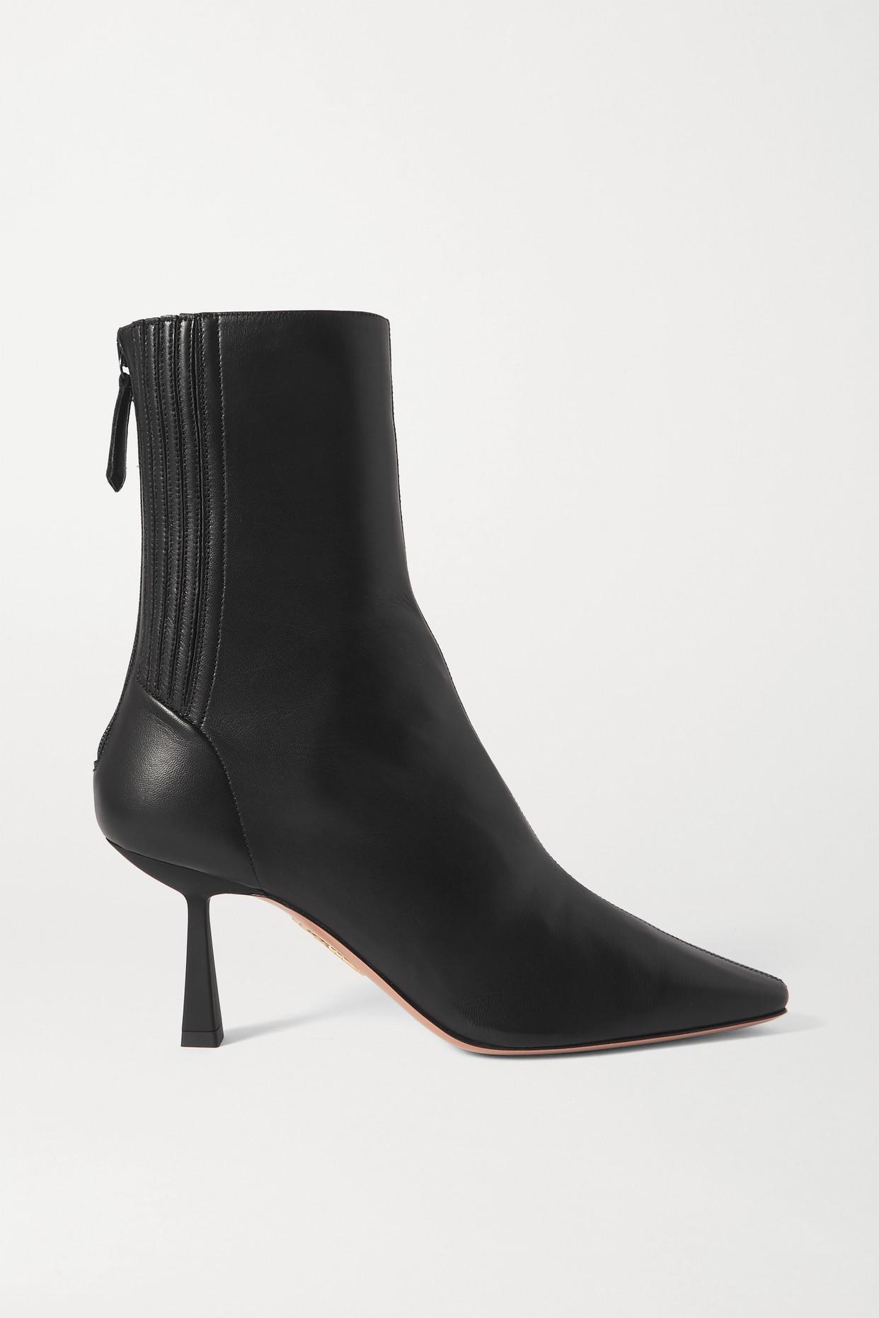 AQUAZZURA - Curzon 75 Leather Ankle Boots - Black - IT37